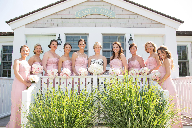 Strapless blush bridesmaid dresses long at New England wedding