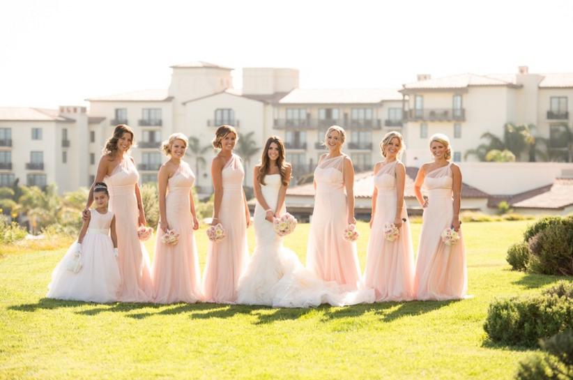 One shoulder bridesmaid dresses Terranea blush pink