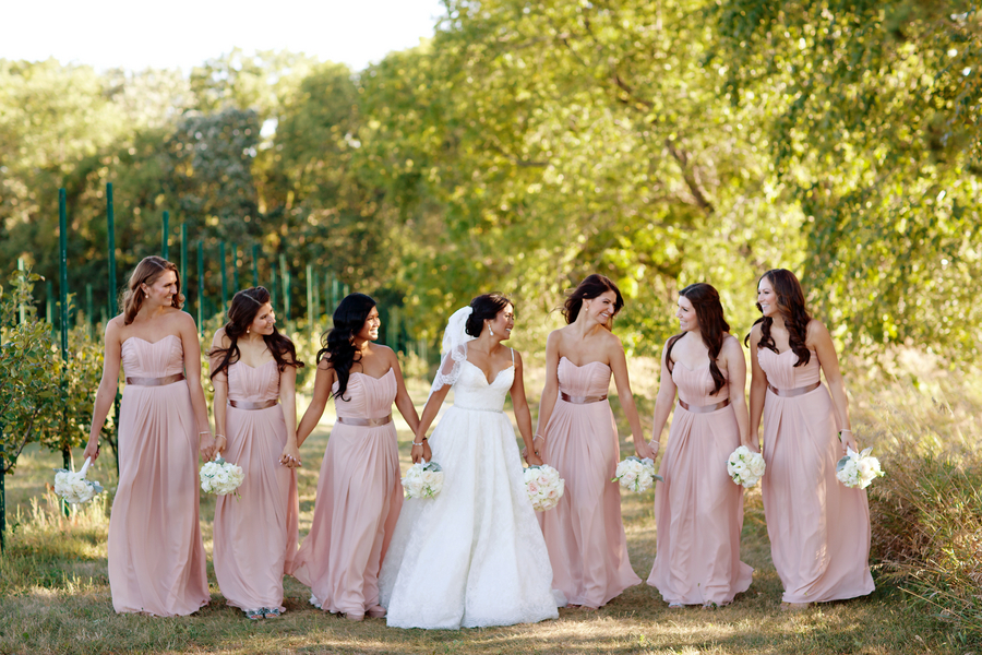 Strapless Blush Bridesmaid Dresses With Ribbon Sashes