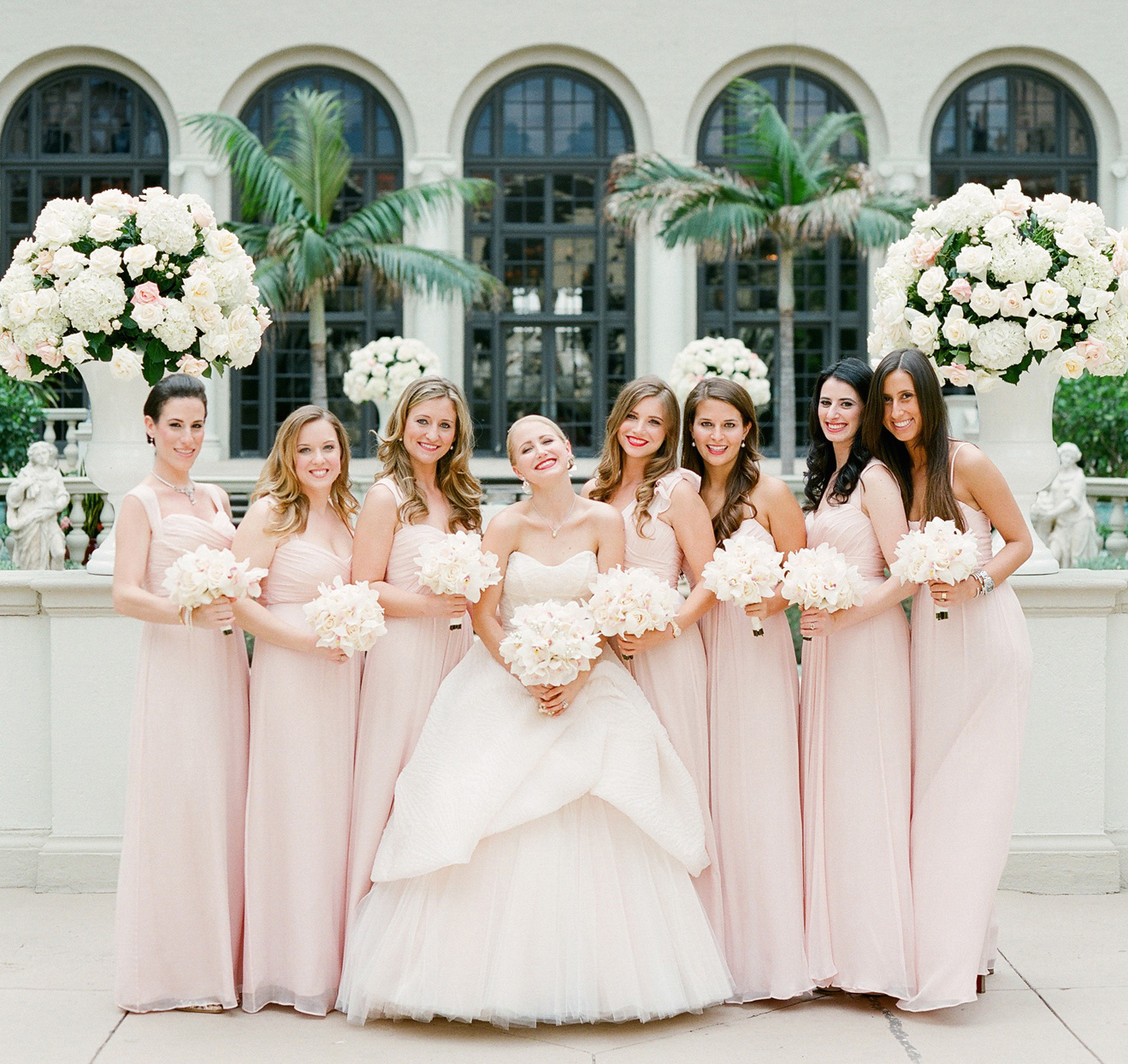 Bridesmaid dresses blush bridesmaid gowns from real weddings mismatched neckline long blush pink bridesmaid dresses ombrellifo Gallery