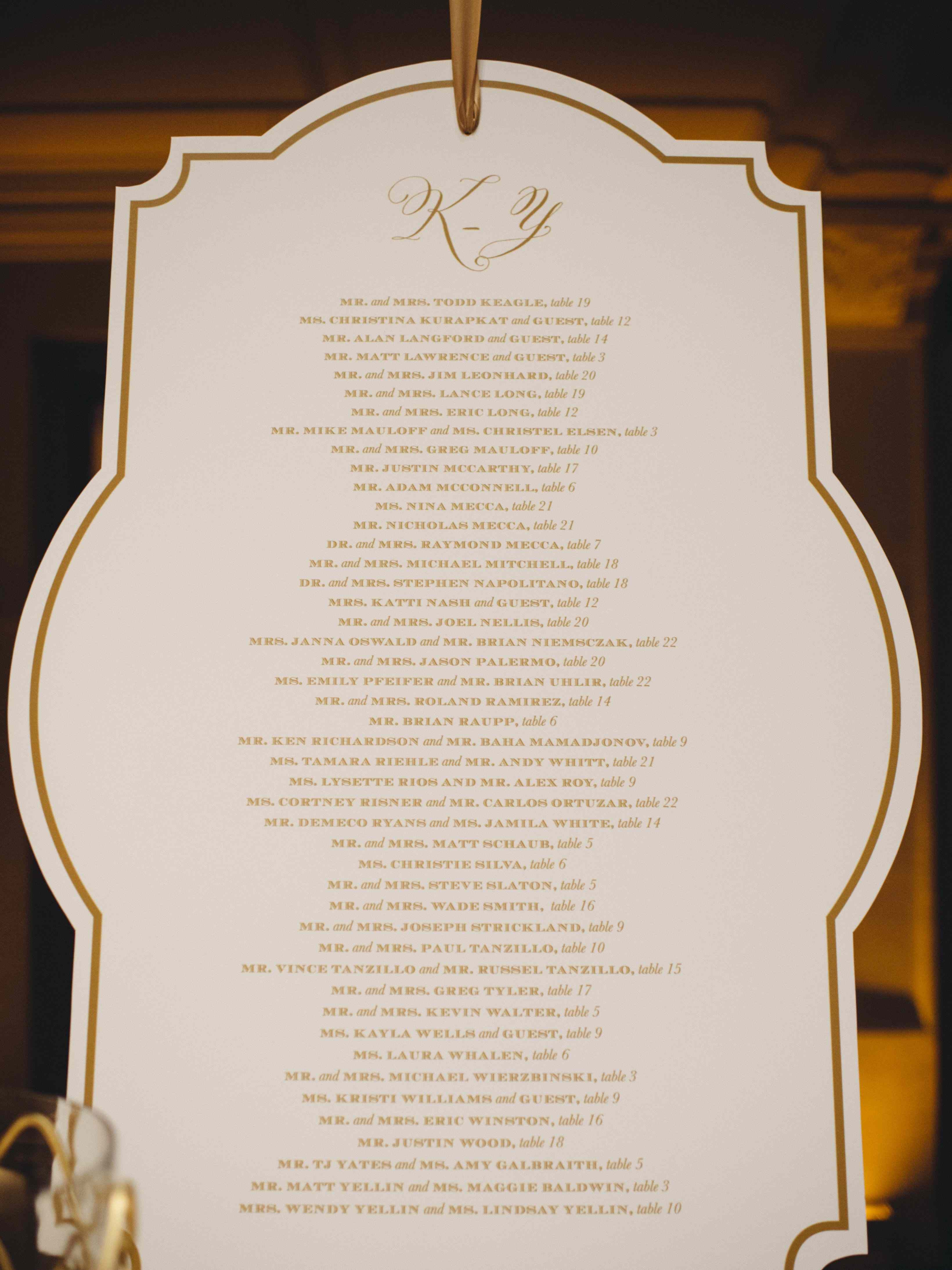 White and gold die cut wedding seating chart
