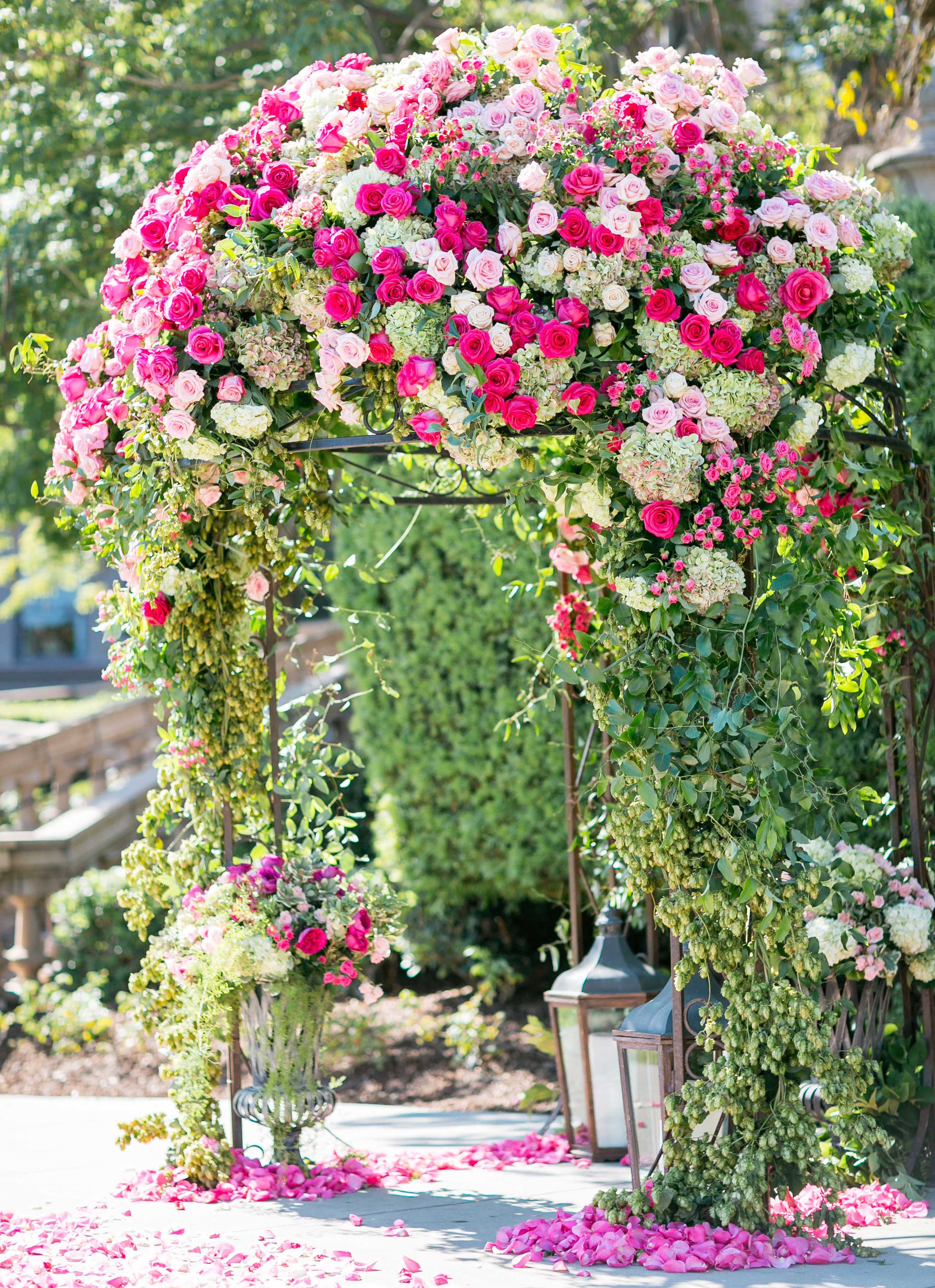 garden wedding inspiration, floral ceremony arch