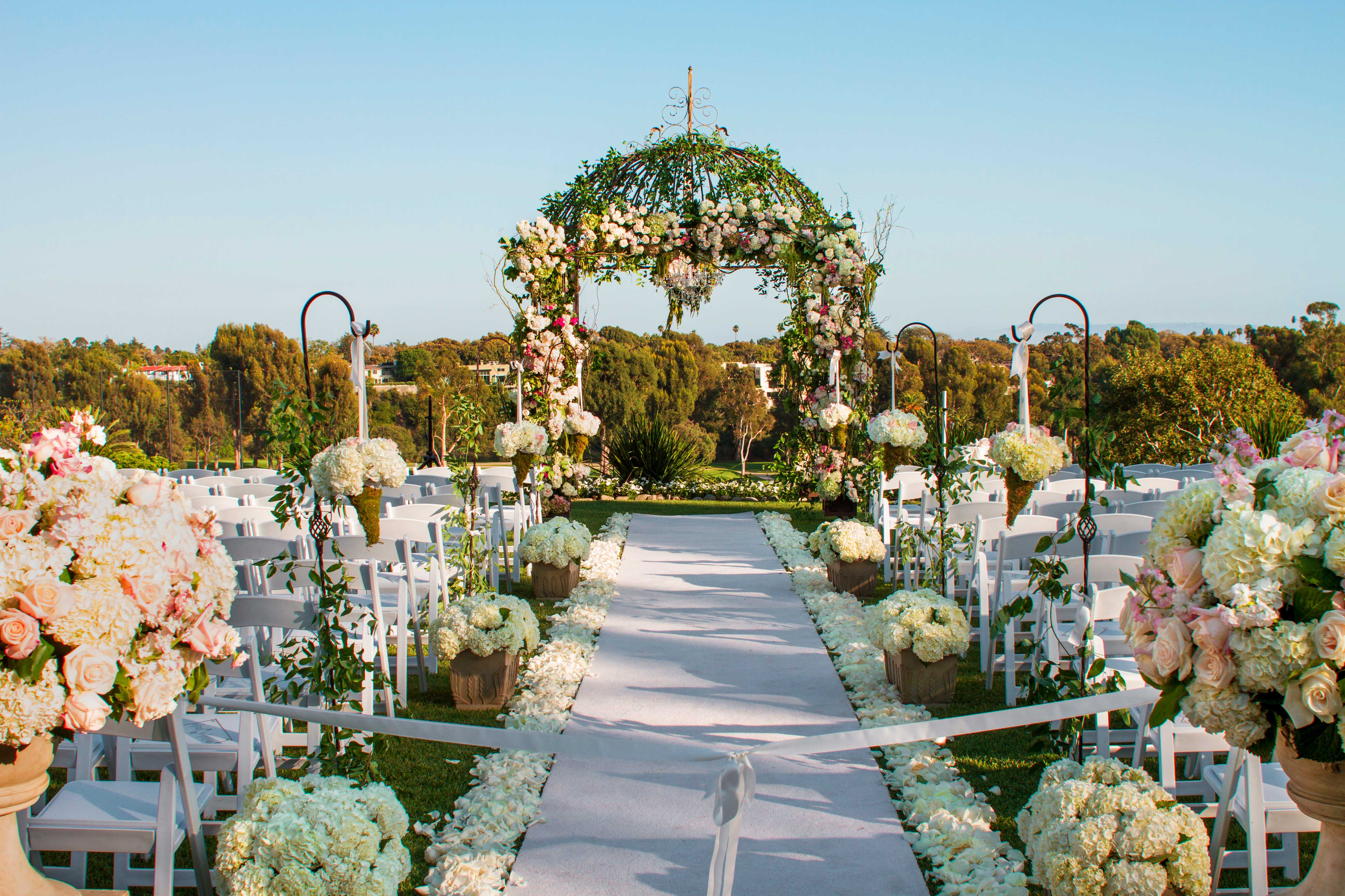 garden wedding inspiration, ceremony aisle decor