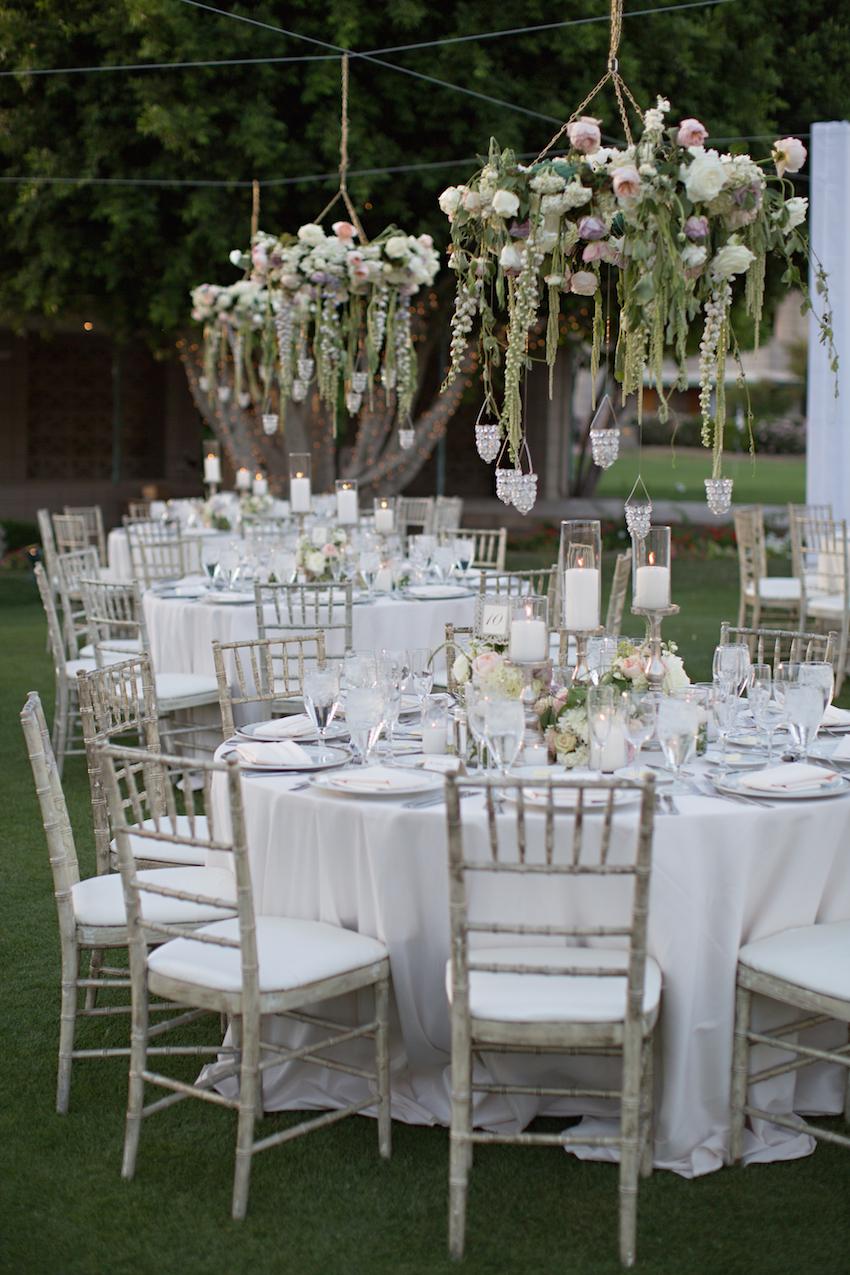 garden wedding inspiration, floral chandeliers