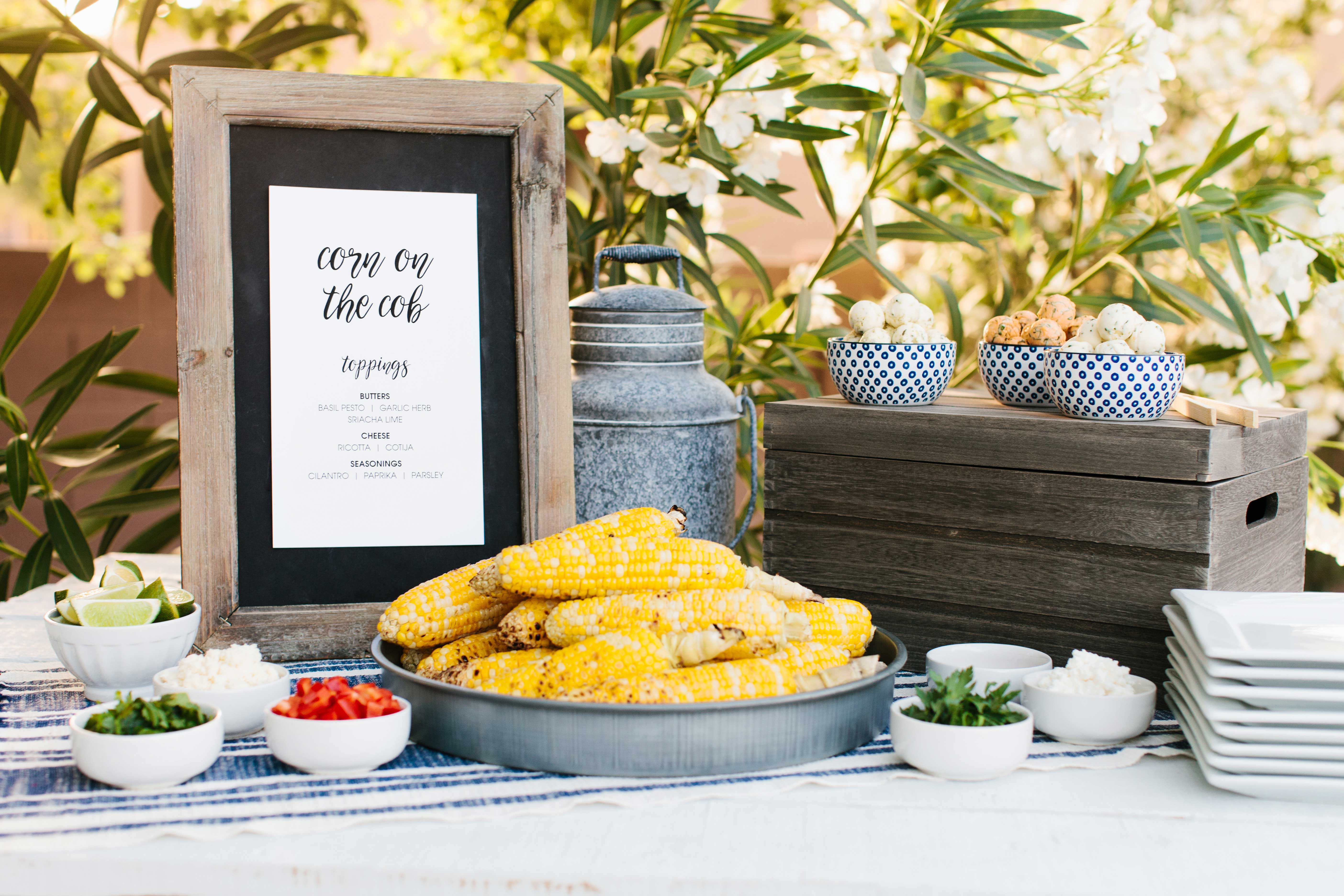 Corn on the Cob station for summer wedding event