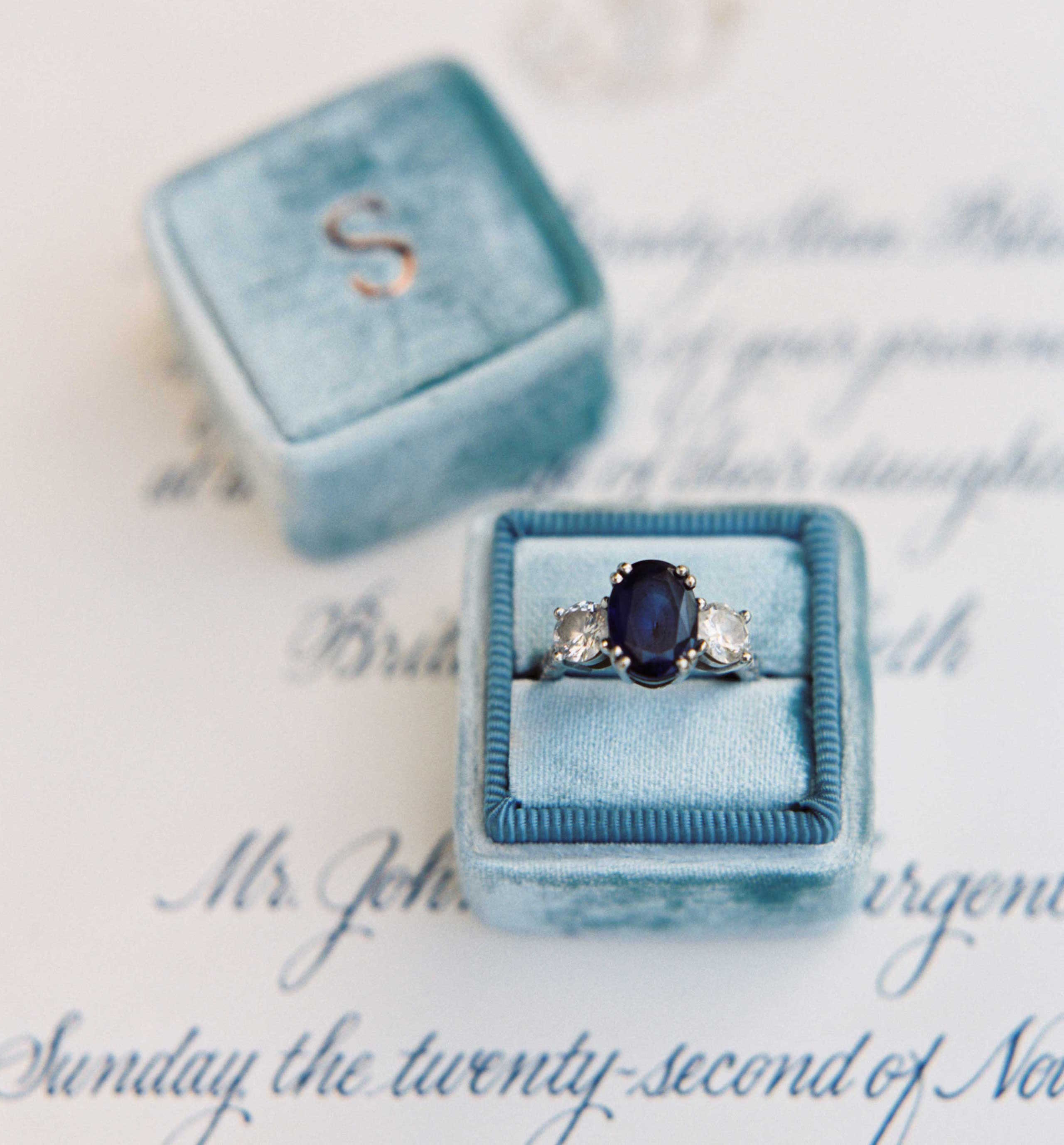 Sapphire engagement ring with heirloom side stones in light blue Mrs. Box