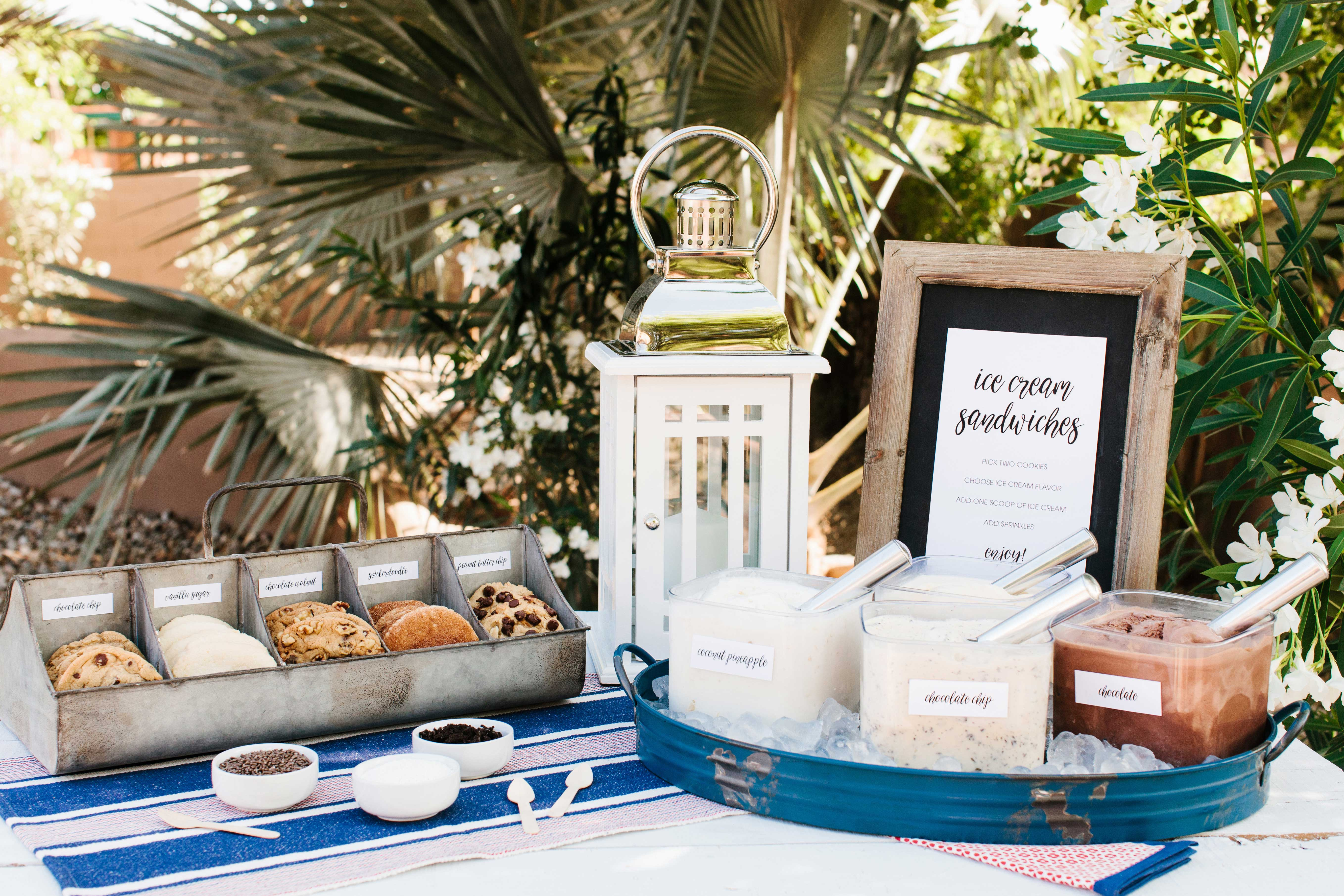 Cookie ice cream sandwich bar at outdoor event summer wedding ideas