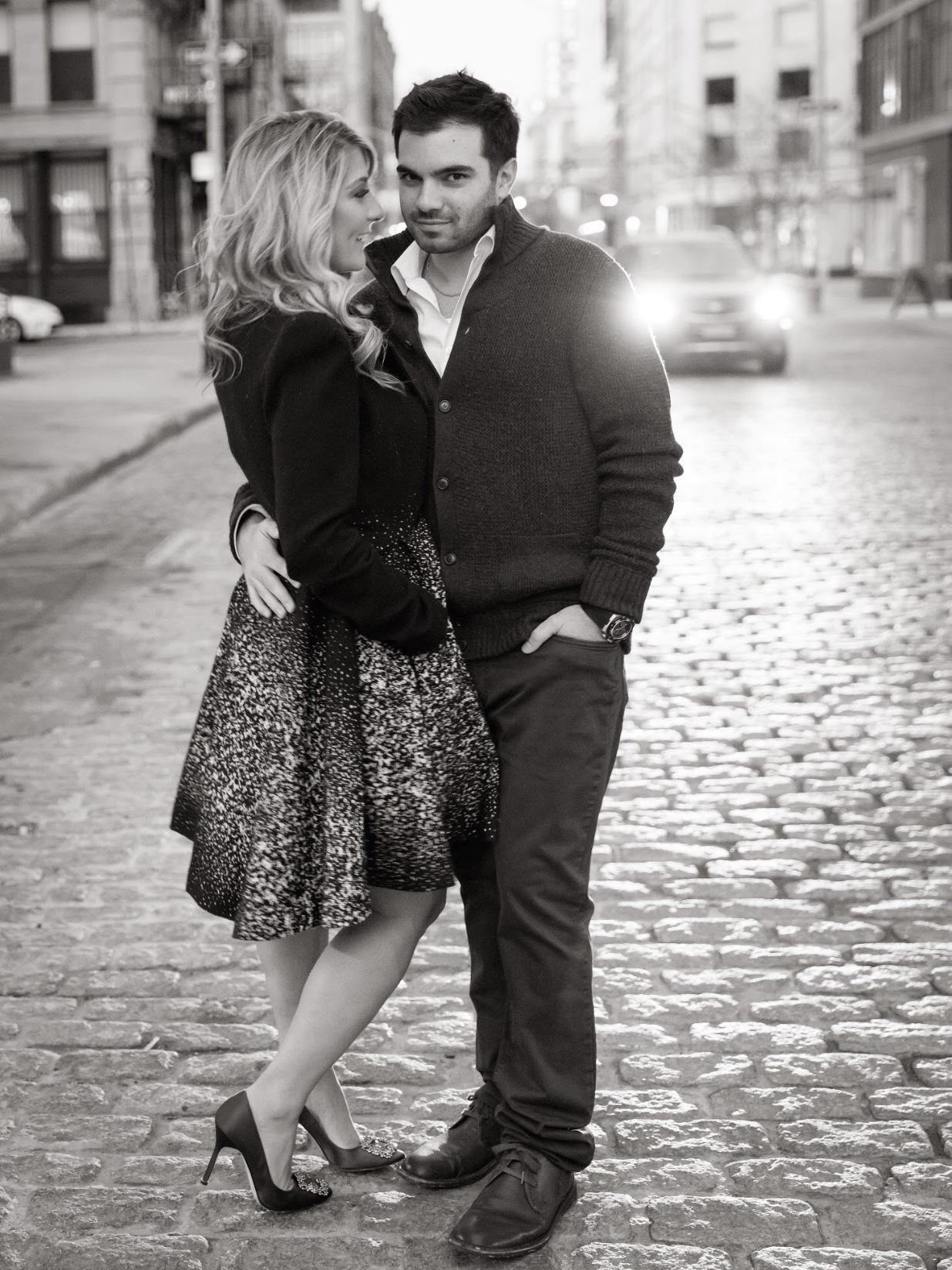Black and white photo engagement shoot New York City Tribeca