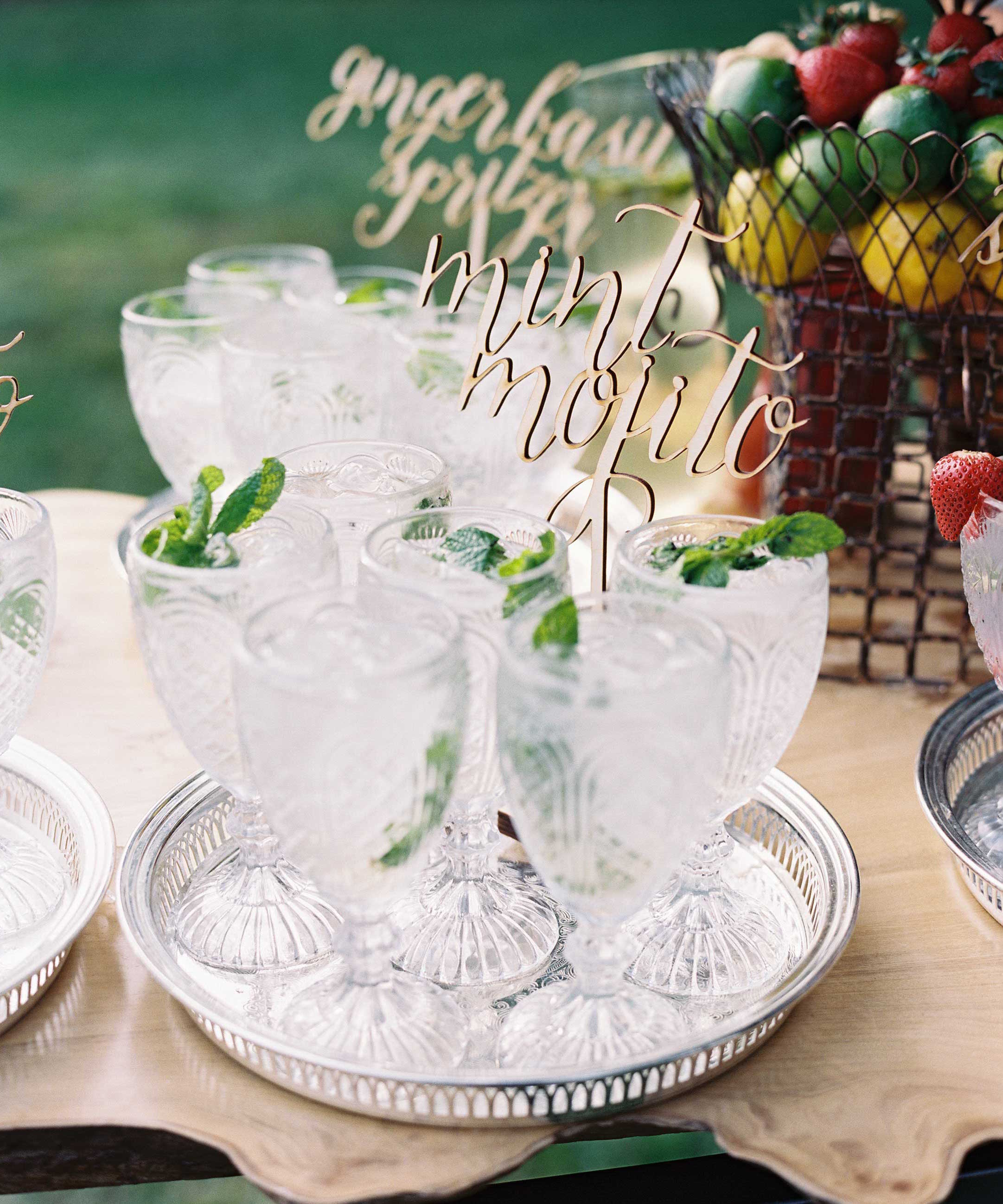 Mint Mojito mocktail on tray antique glassware laser cut calligraphy topper
