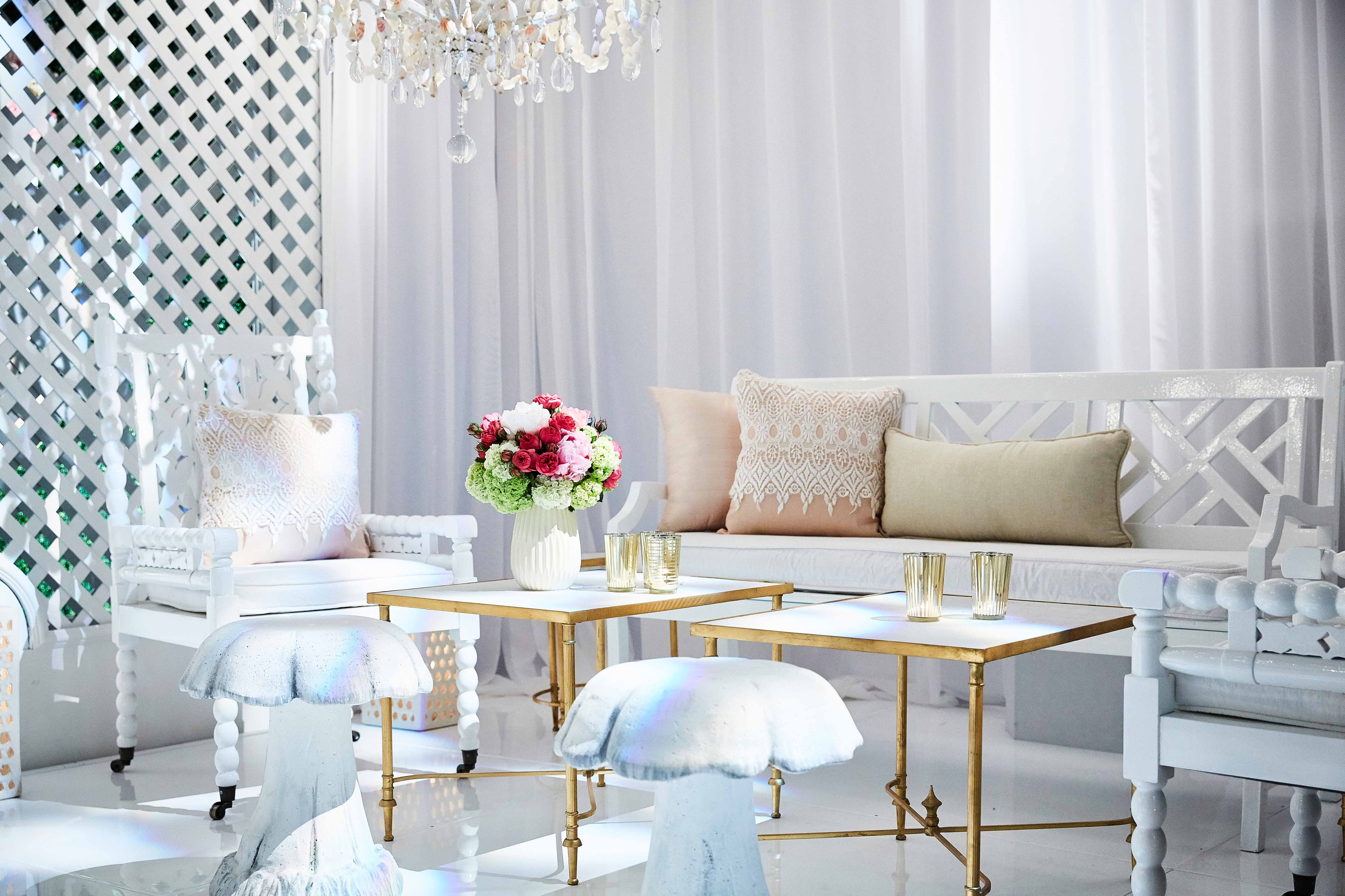Revelry Event Designers white seating area