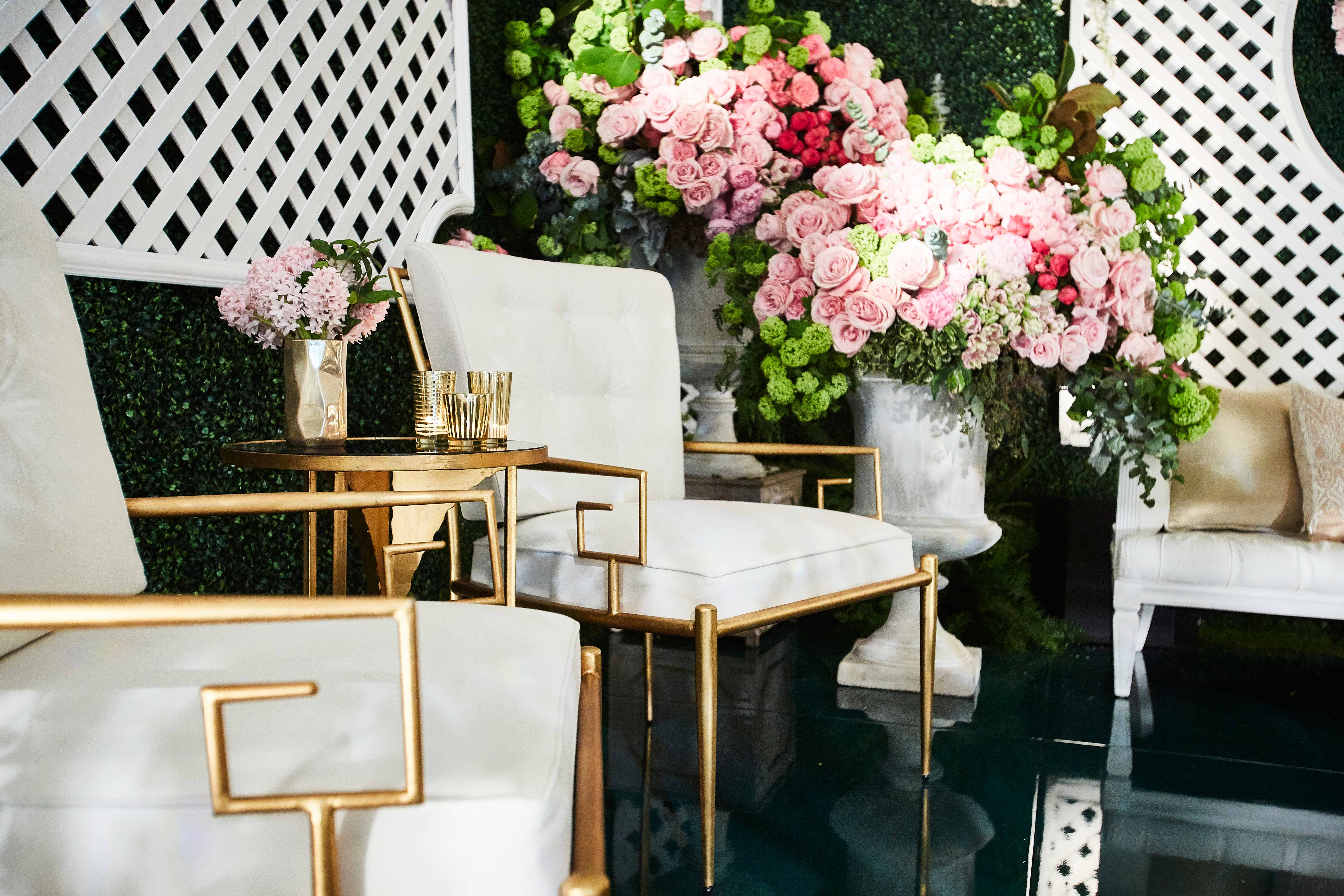 White and gold chairs Revelry Event Designers furniture wedding lounge