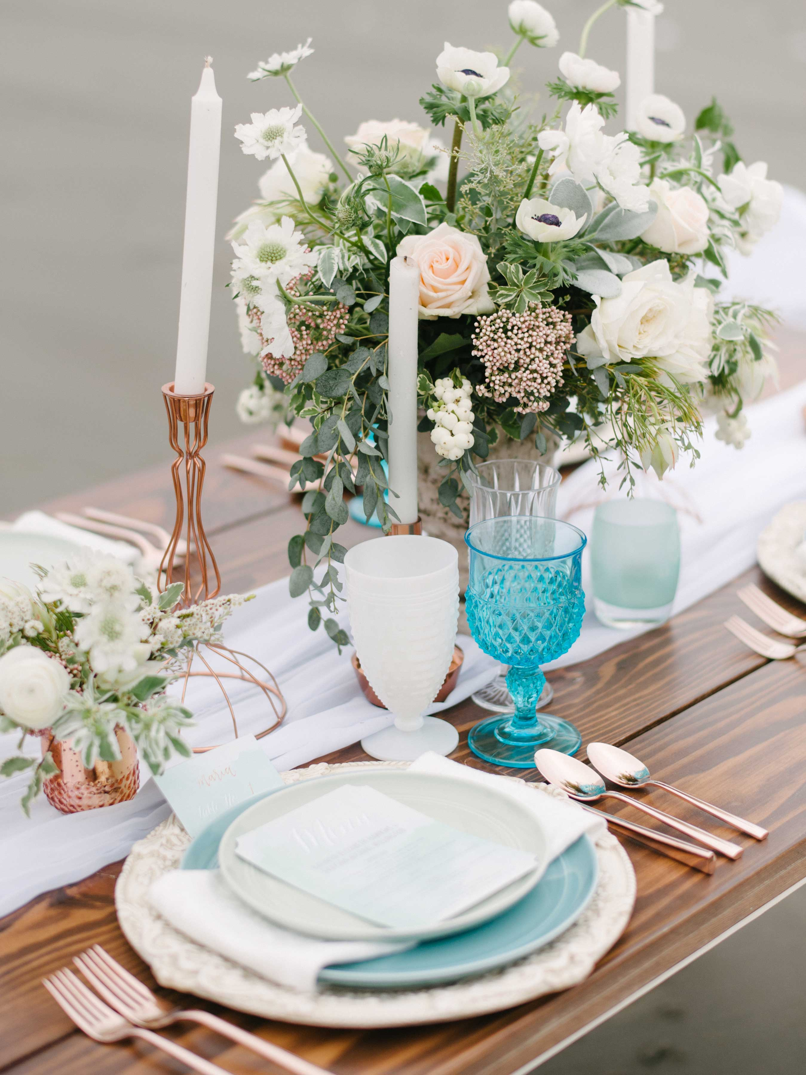 muted colors beach wedding styled shoot