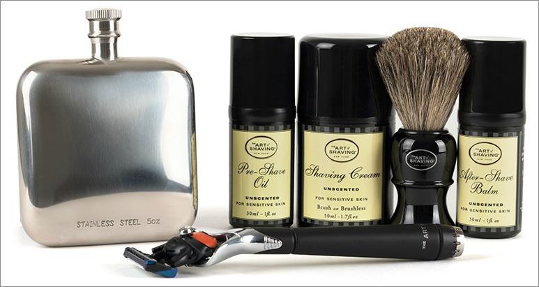 The Art of Shaving travel kit with flask for groomsmen