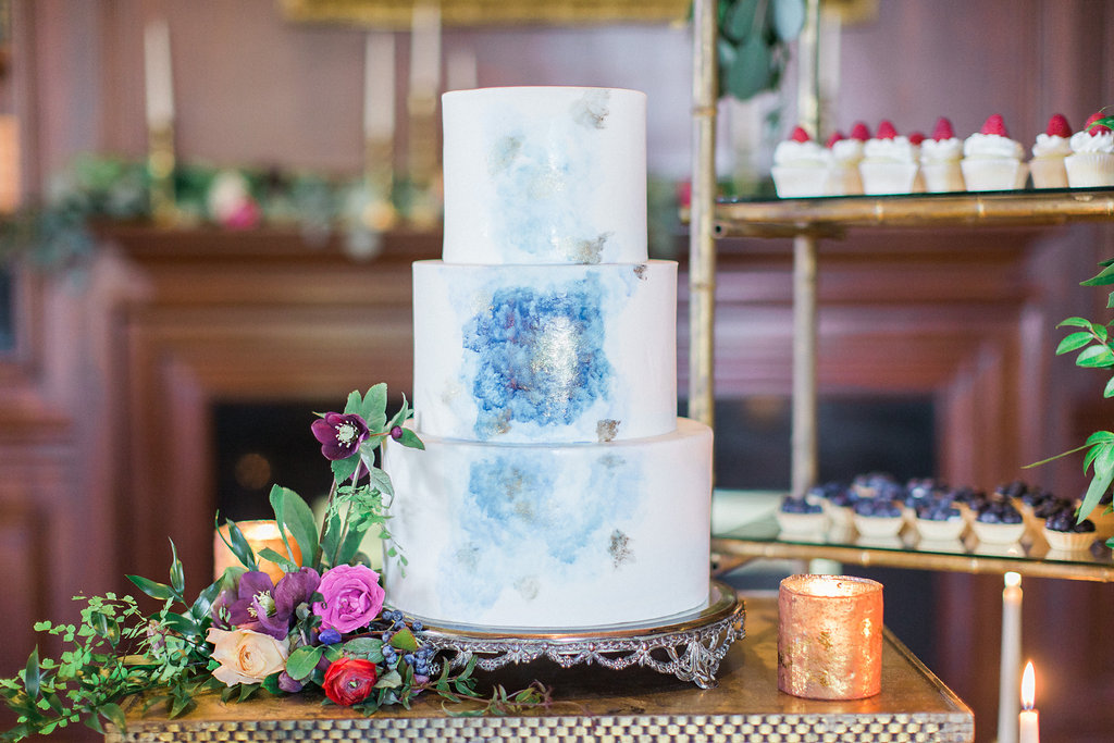 Three Tier White Wedding Cake With Light Blue And Silver Watercolor Details