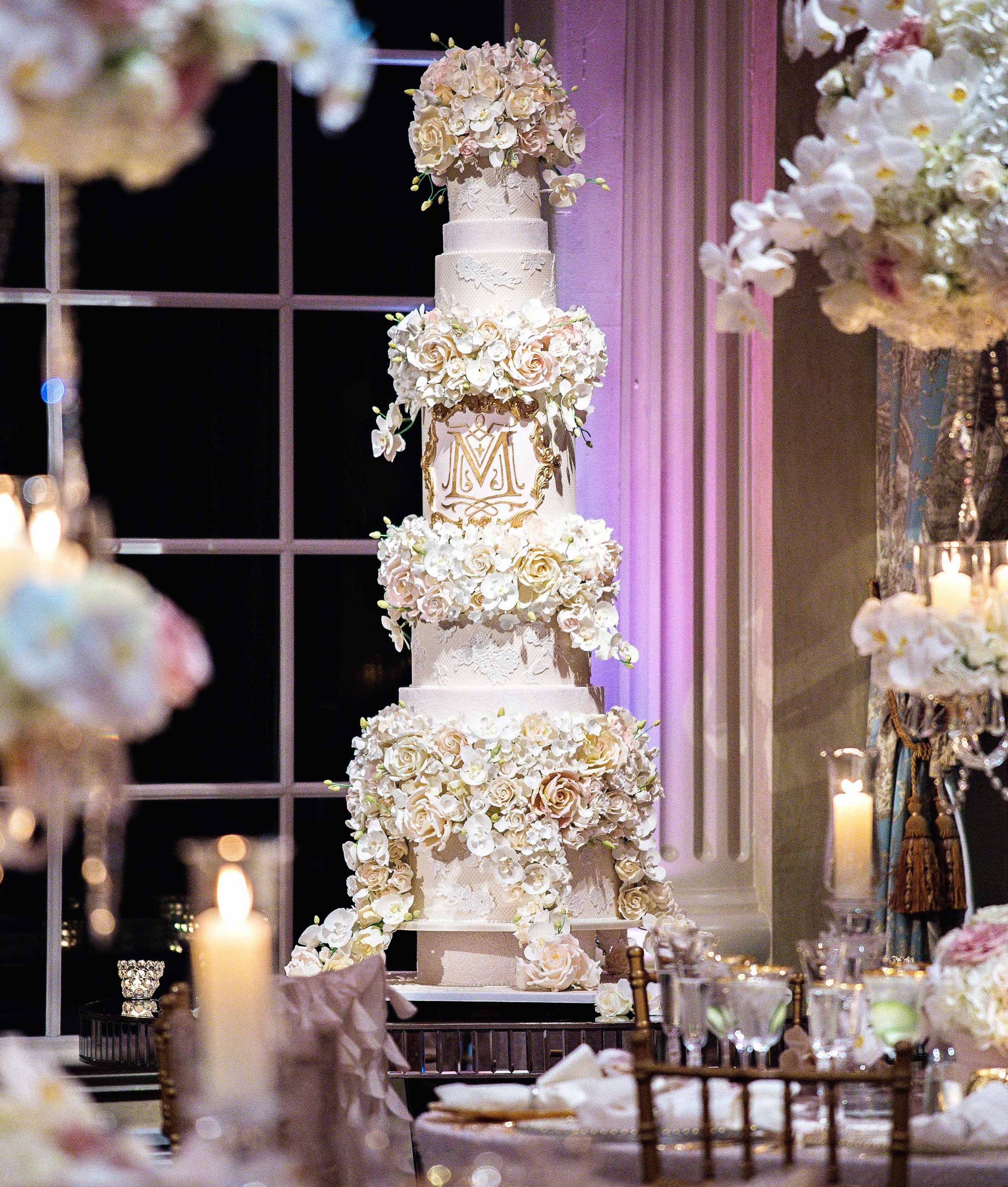 Tracy Morgan Megan Wollover wedding cake tall with monogram and sugar flowers