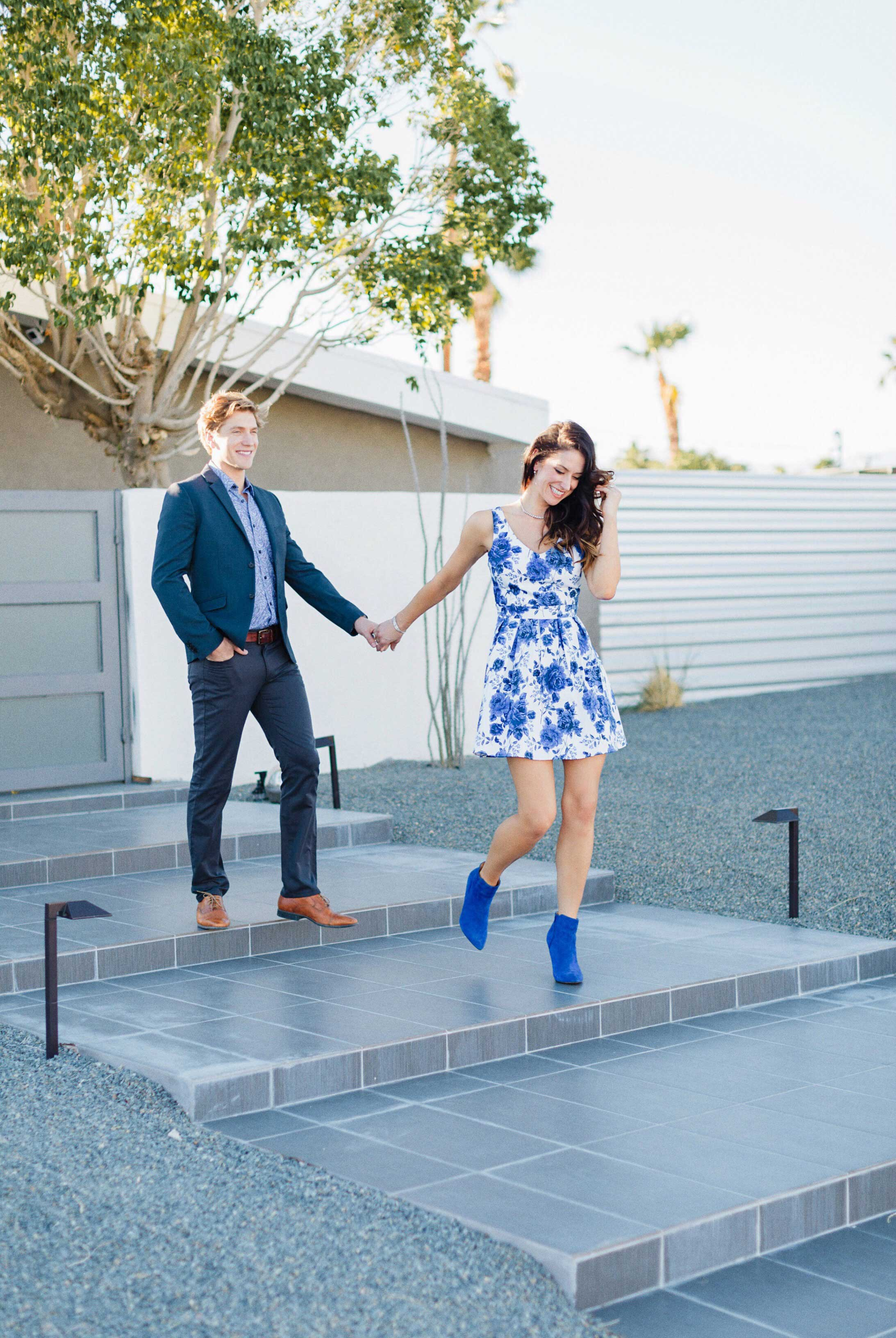 Tone It Up Karena Dawn and Bobby Gold Palm Springs engagement photo shoot at home on steps