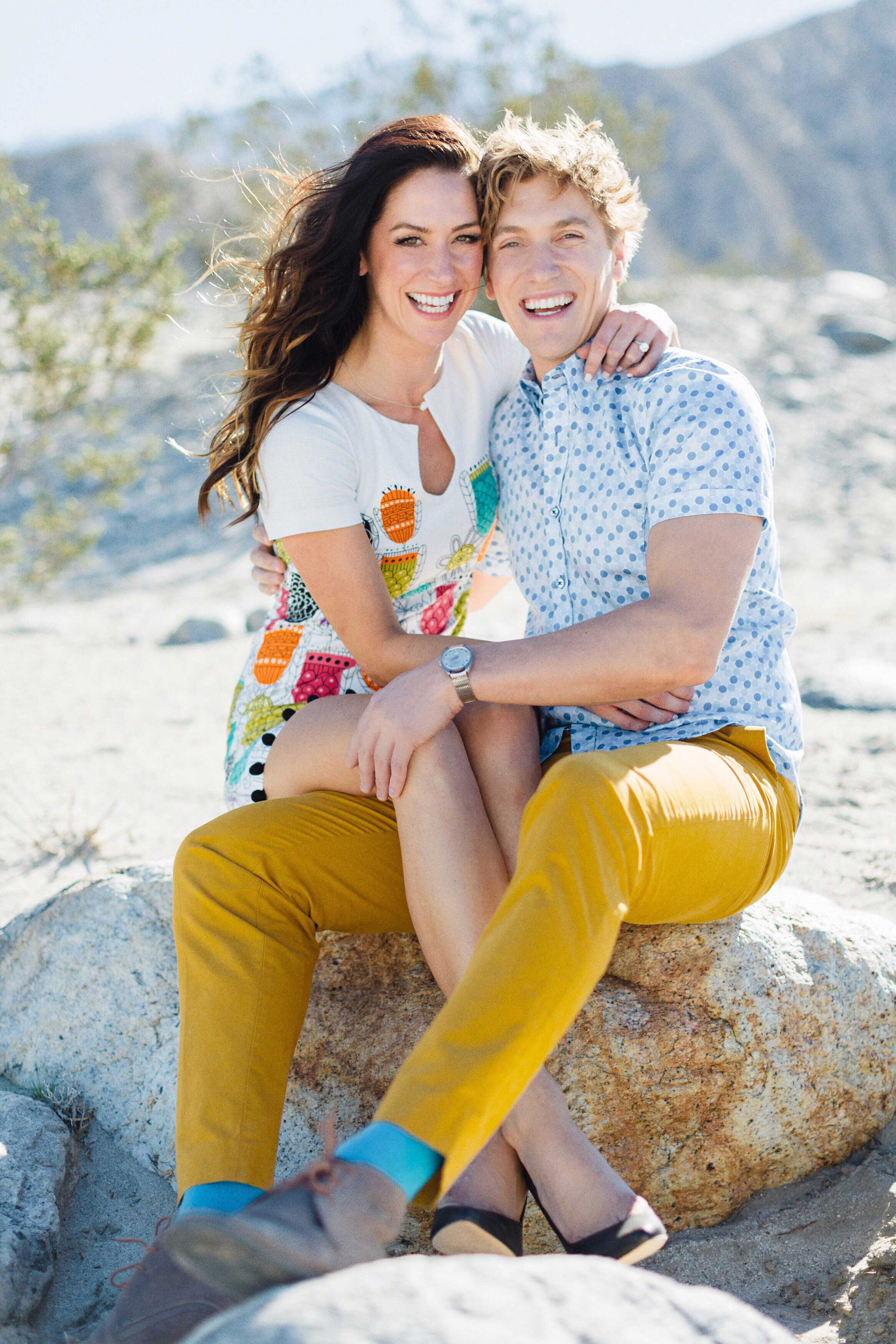 Tone It Up Karena Dawn and Bobby Gold Palm Springs engagement photo shoot midcentury outfits