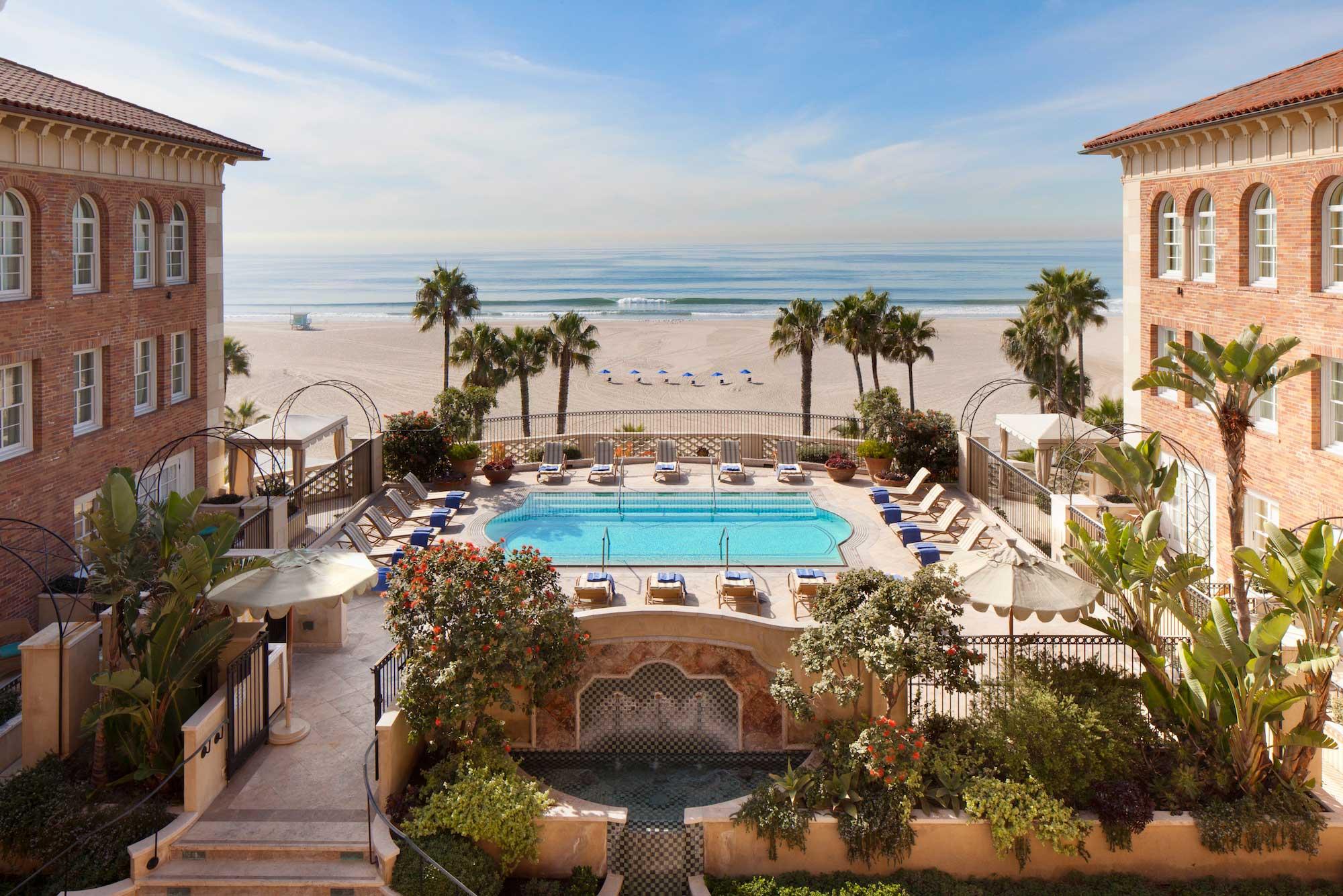 Casa Del Mar pool with view of beach and ocean in Santa Monica