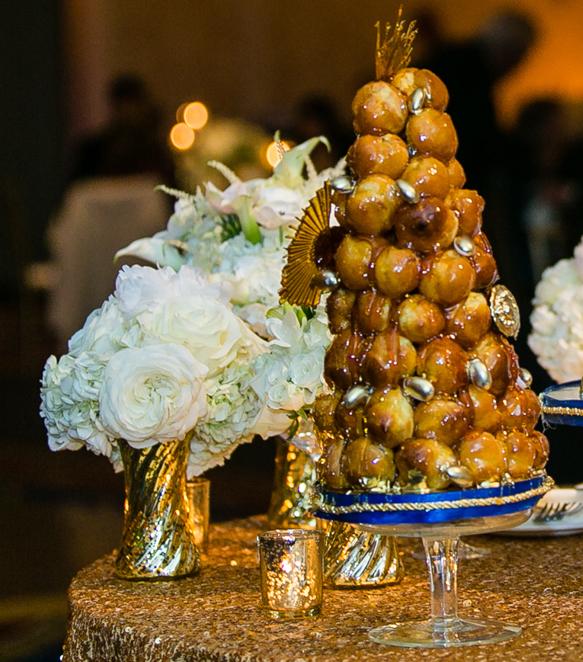 wedding dessert table cream puff tower