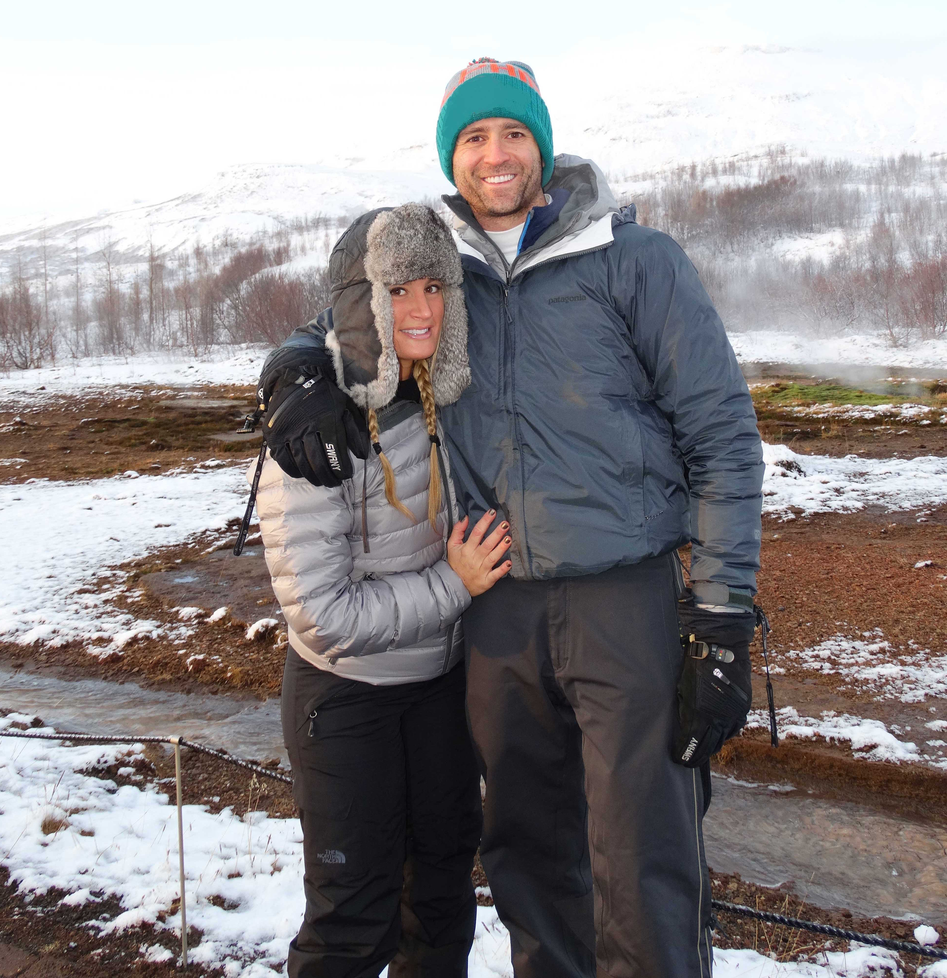 Whitney Spielfogel in Iceland with husband