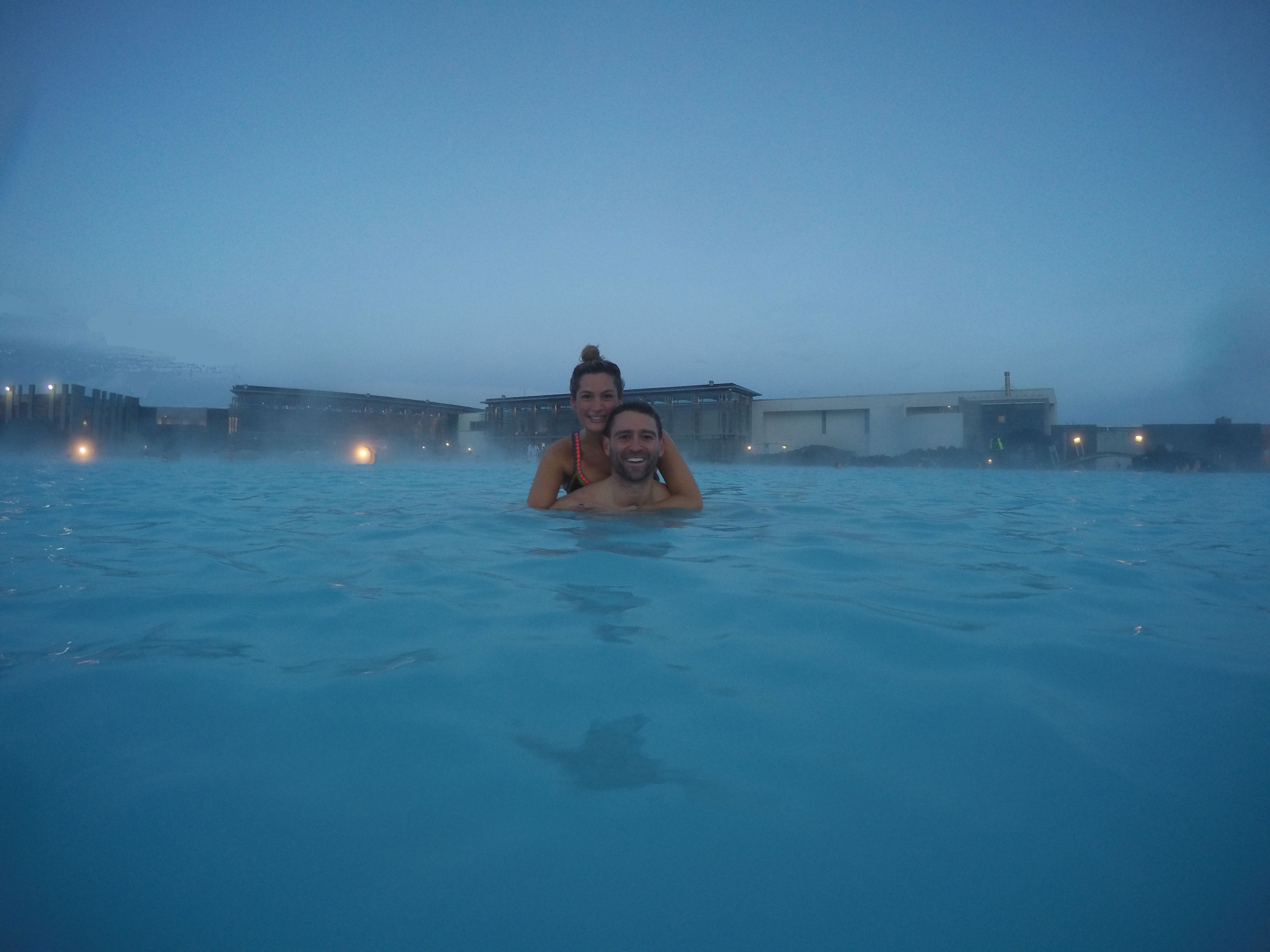 Newlyweds in Iceland blue lagoon honeymoon