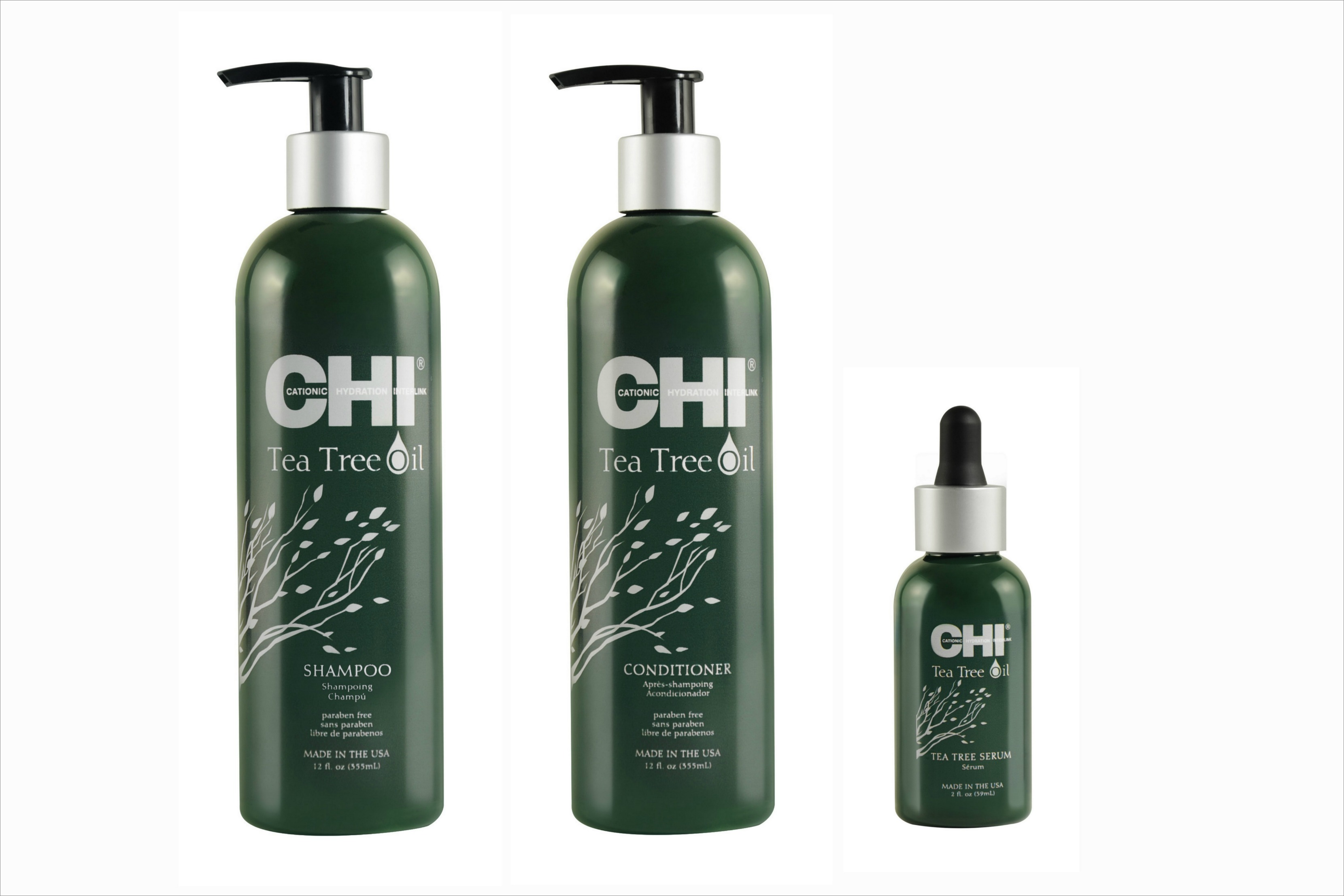 CHI Tea Tree Oil products shampoo conditioner and serum