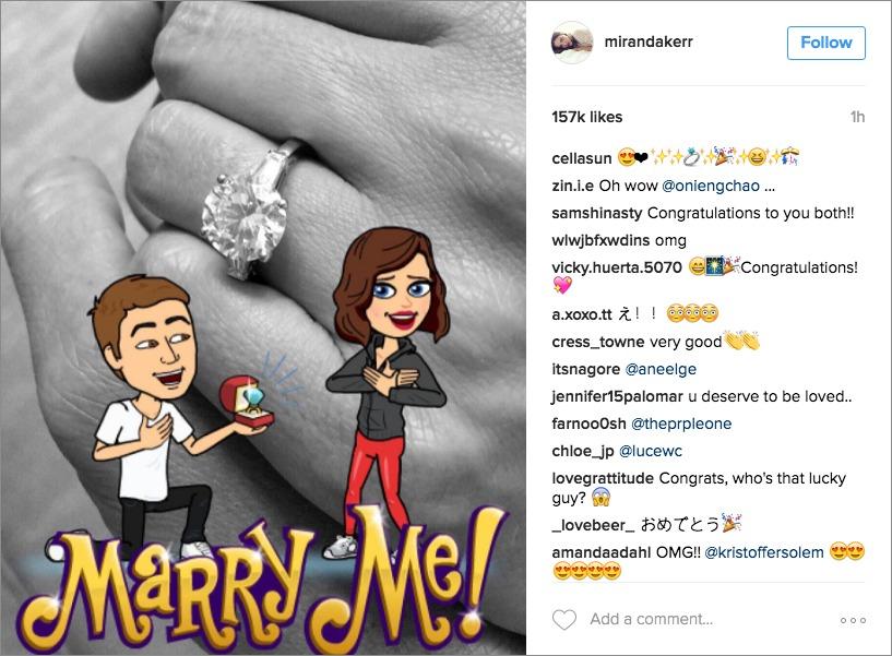 Miranda Kerr Instagram engagement announcement ring photo