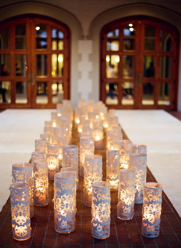 laser-cut candle votives for wedding