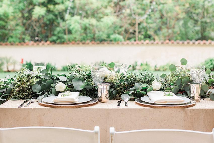 Rustic wedding centerpieces green eucalyptus leaves low garland flower runner