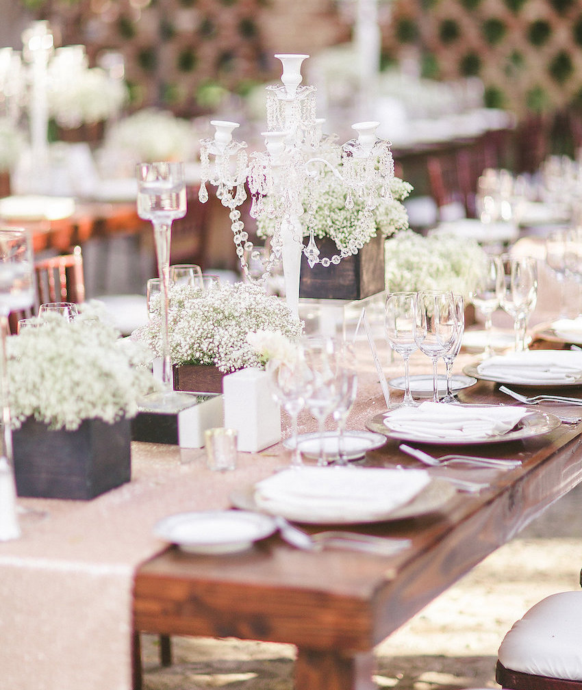 Wedding ideas 25 rustic wedding centerpieces inside weddings rustic wedding centerpieces babys breath in wood boxes and crystal candelabra junglespirit Choice Image