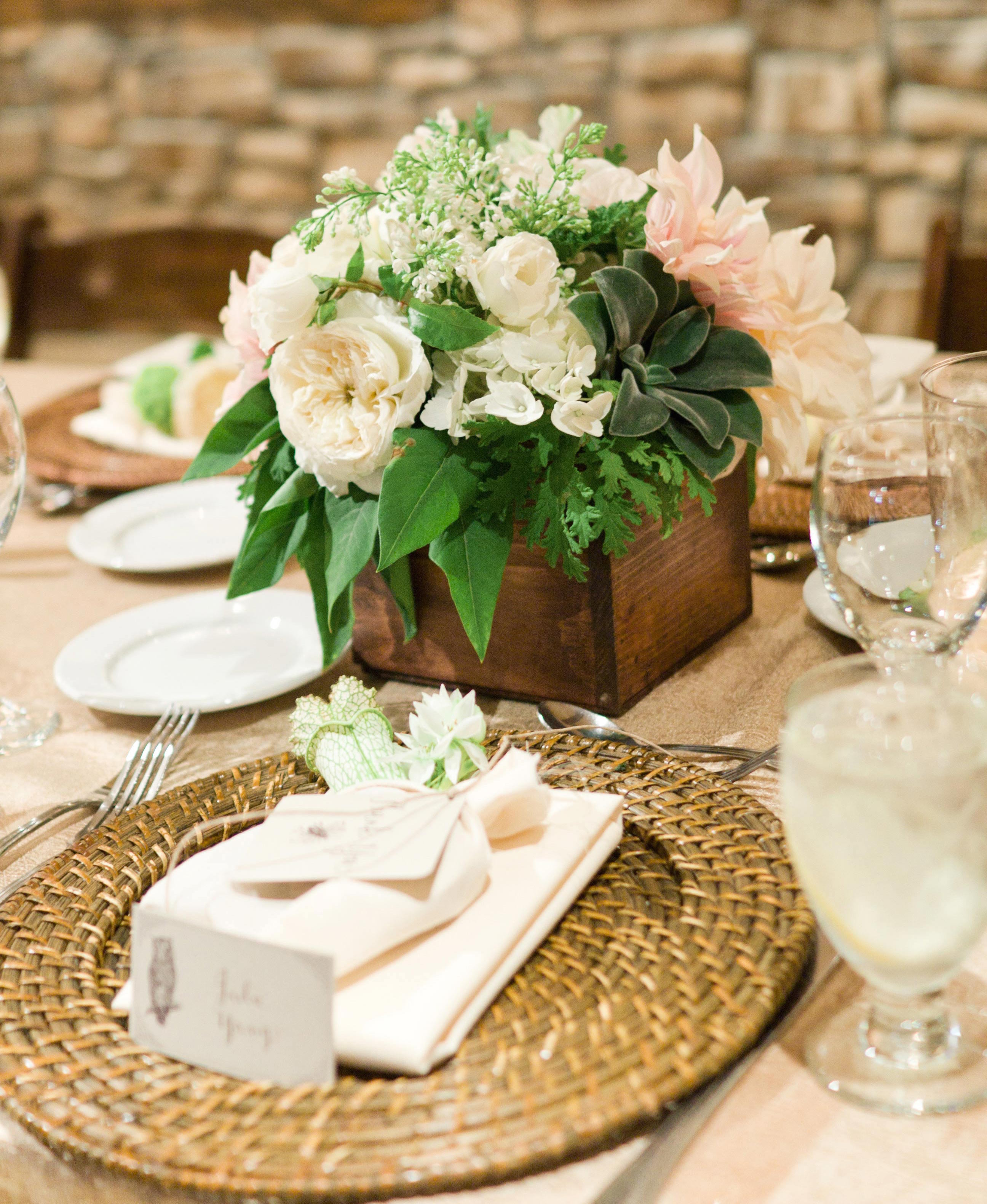Garden rose and succulent flowers in wood box rustic wedding centerpieces