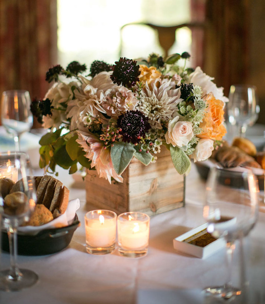 Wedding ideas 25 rustic wedding centerpieces inside weddings fall wedding ideas rustic wedding centerpiece dahlias in low wood box junglespirit