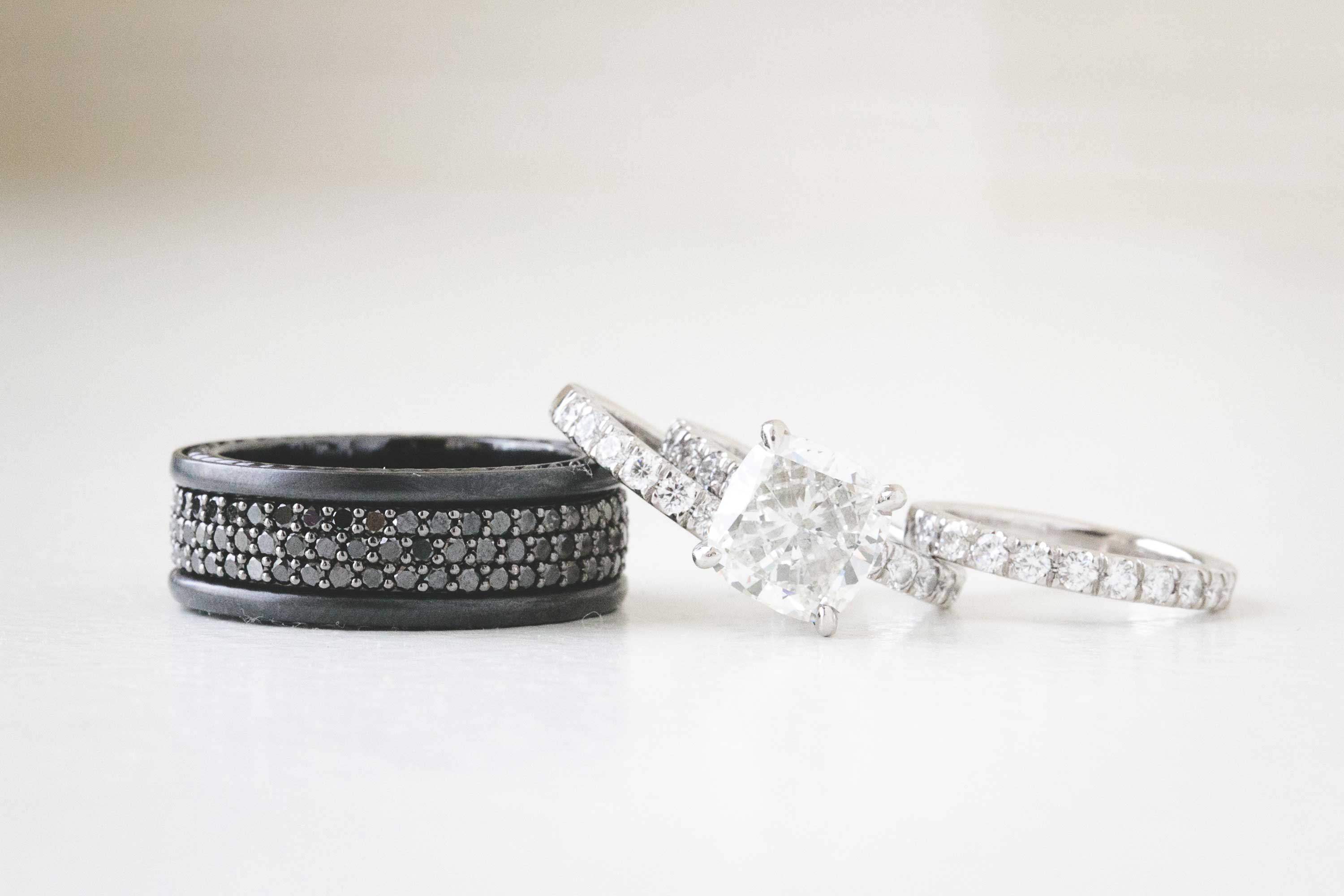unique men's wedding bands, black diamonds