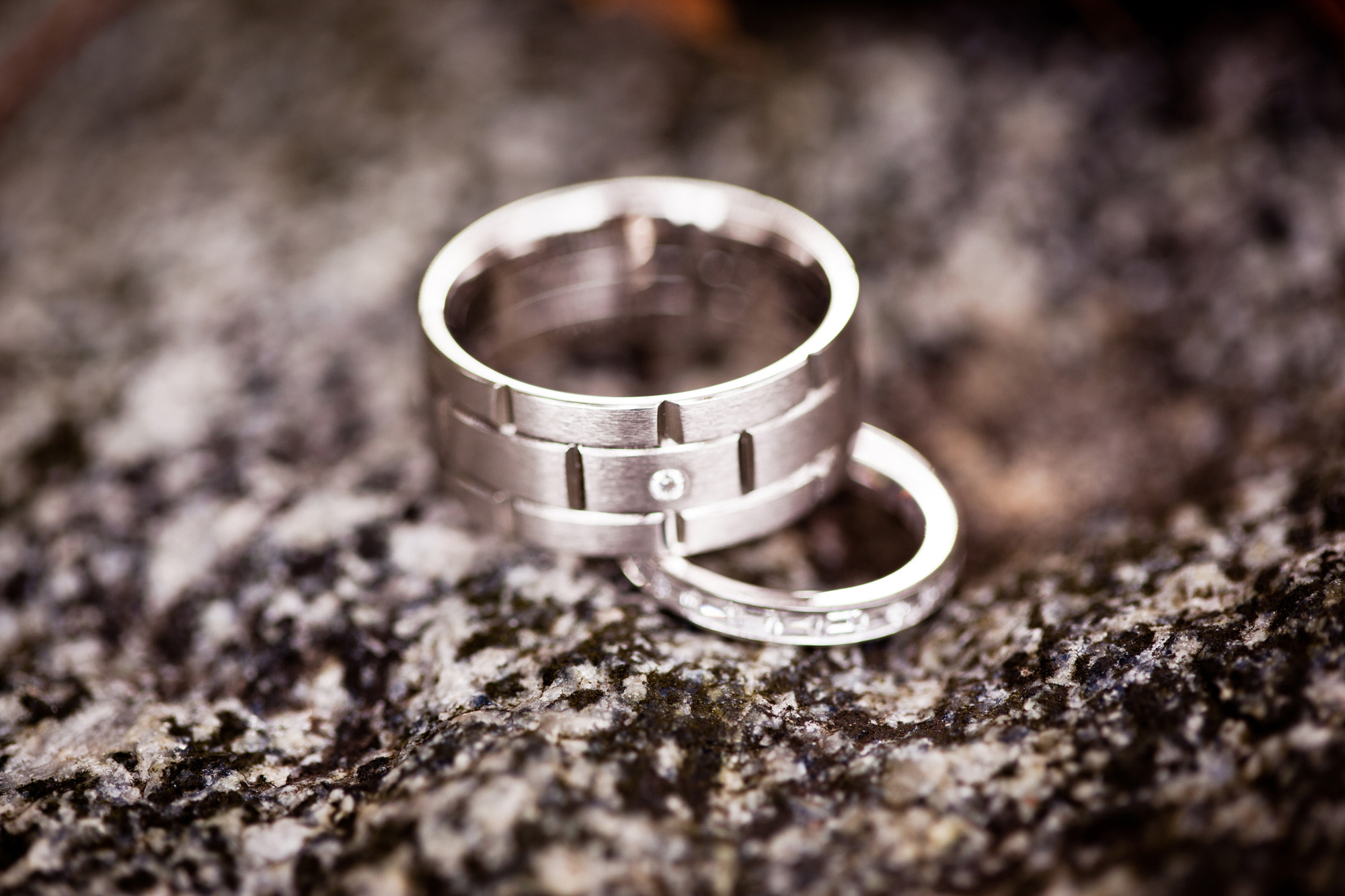 unique men's wedding bands, brick style with embedded diamond