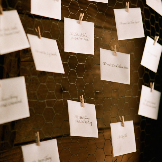 Escort cards attached to chicken wire with mini clothespins