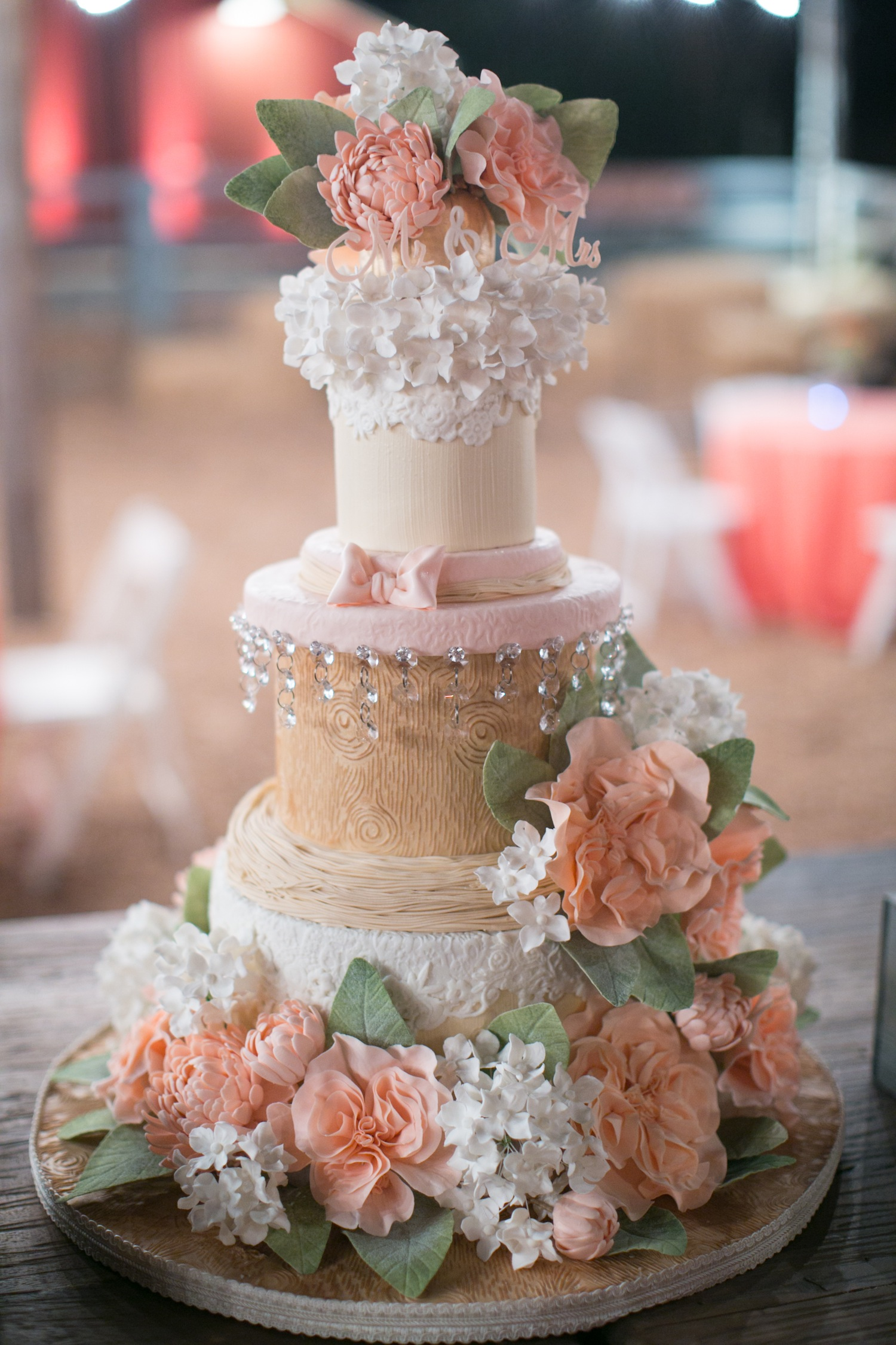Wood grain sugar flower wedding cake rustic wedding David Tutera