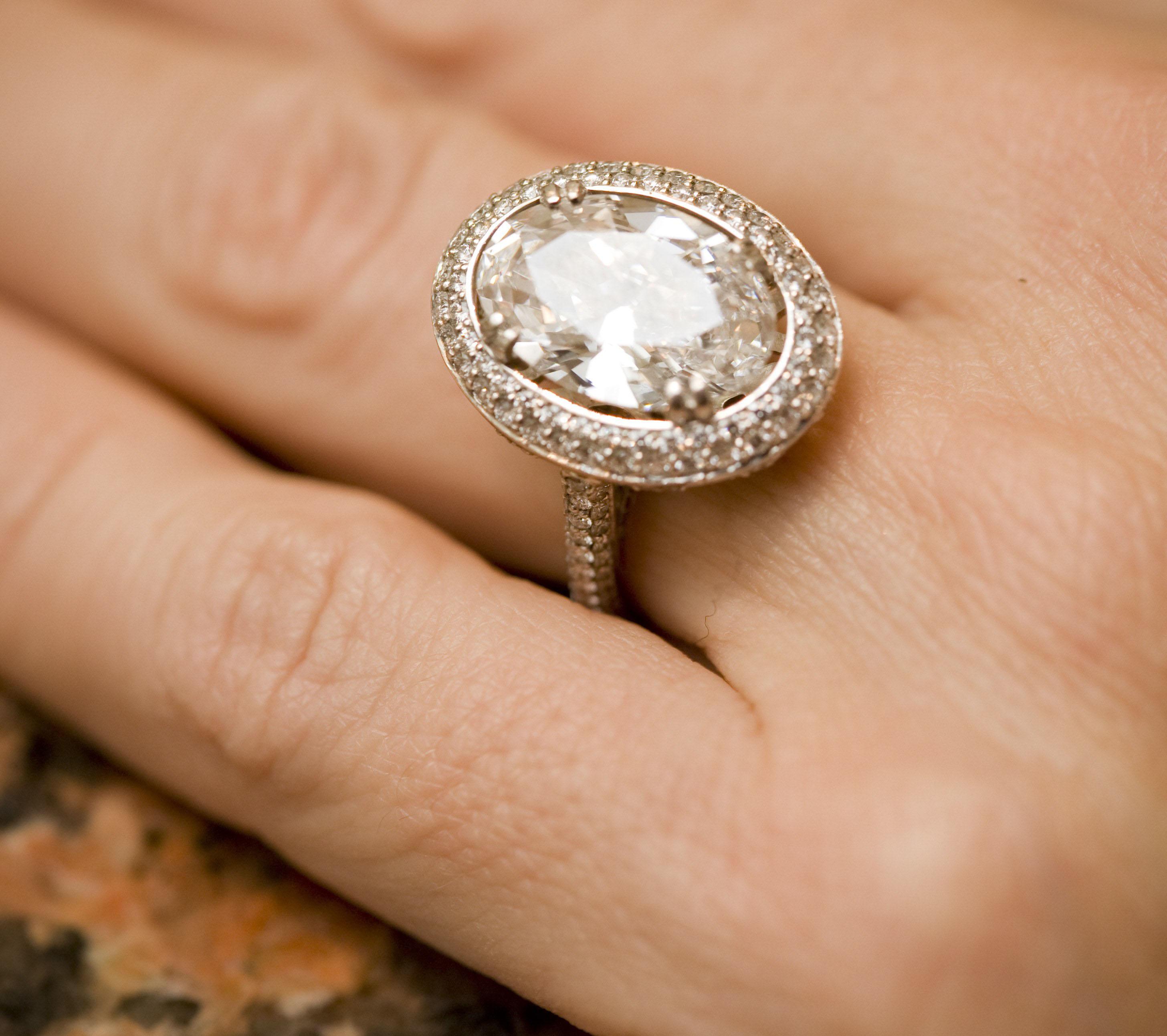 adrienne bailon engagement ring inspiration, oval halo diamond ring