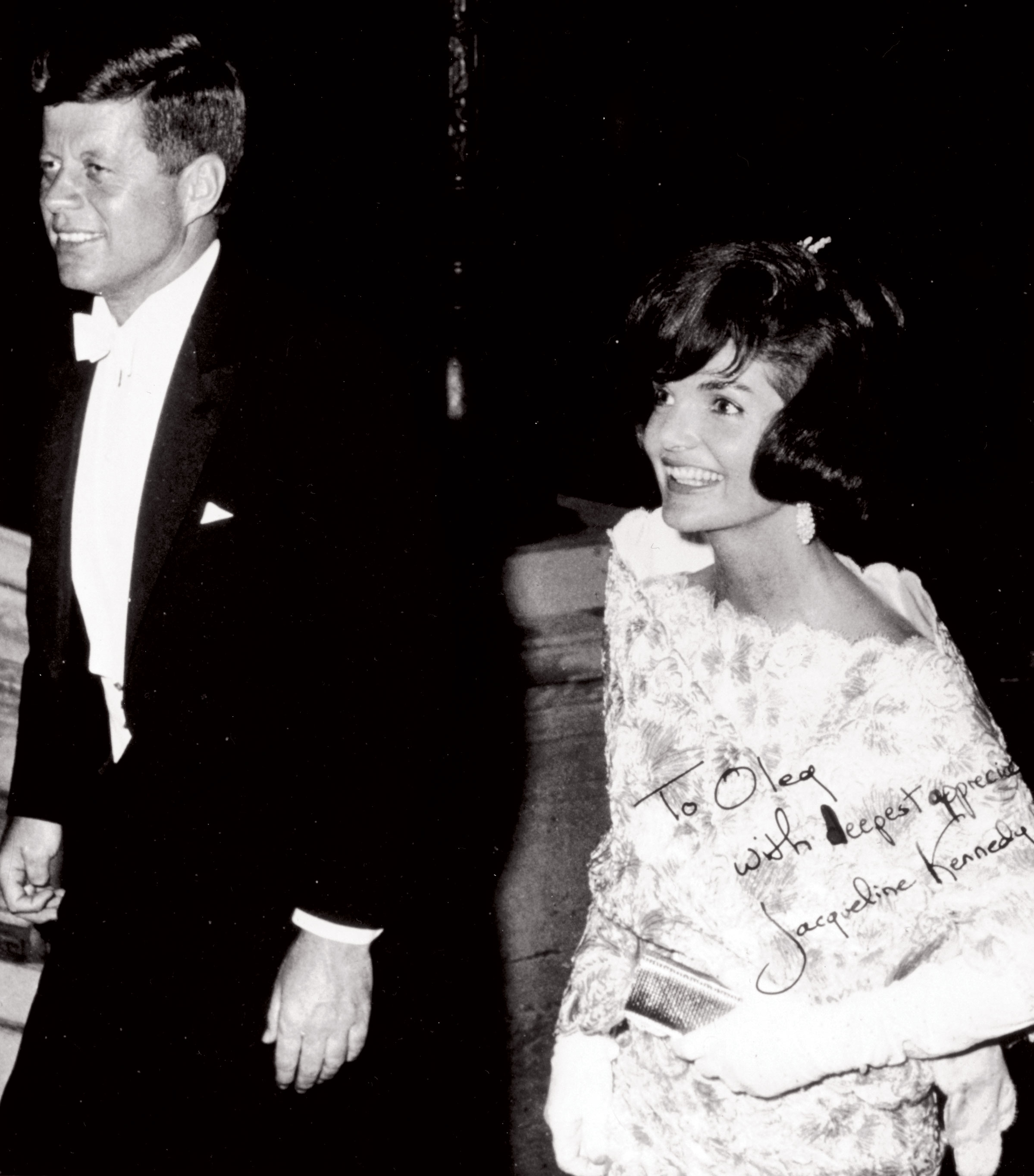 President John F. Kennedy and Jacqueline Kennedy Onassis in Oleg Cassini dress with note to designer