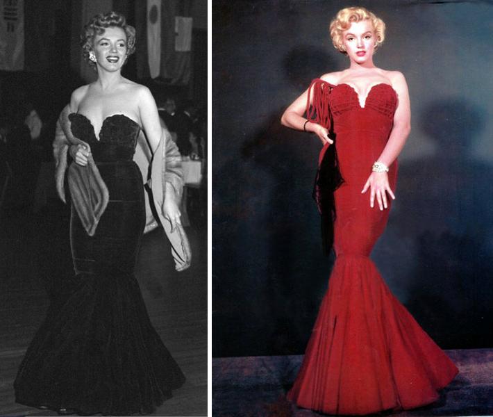 Marilyn Monroe in strapless red mermaid dress for Golden Globes Oleg Cassini