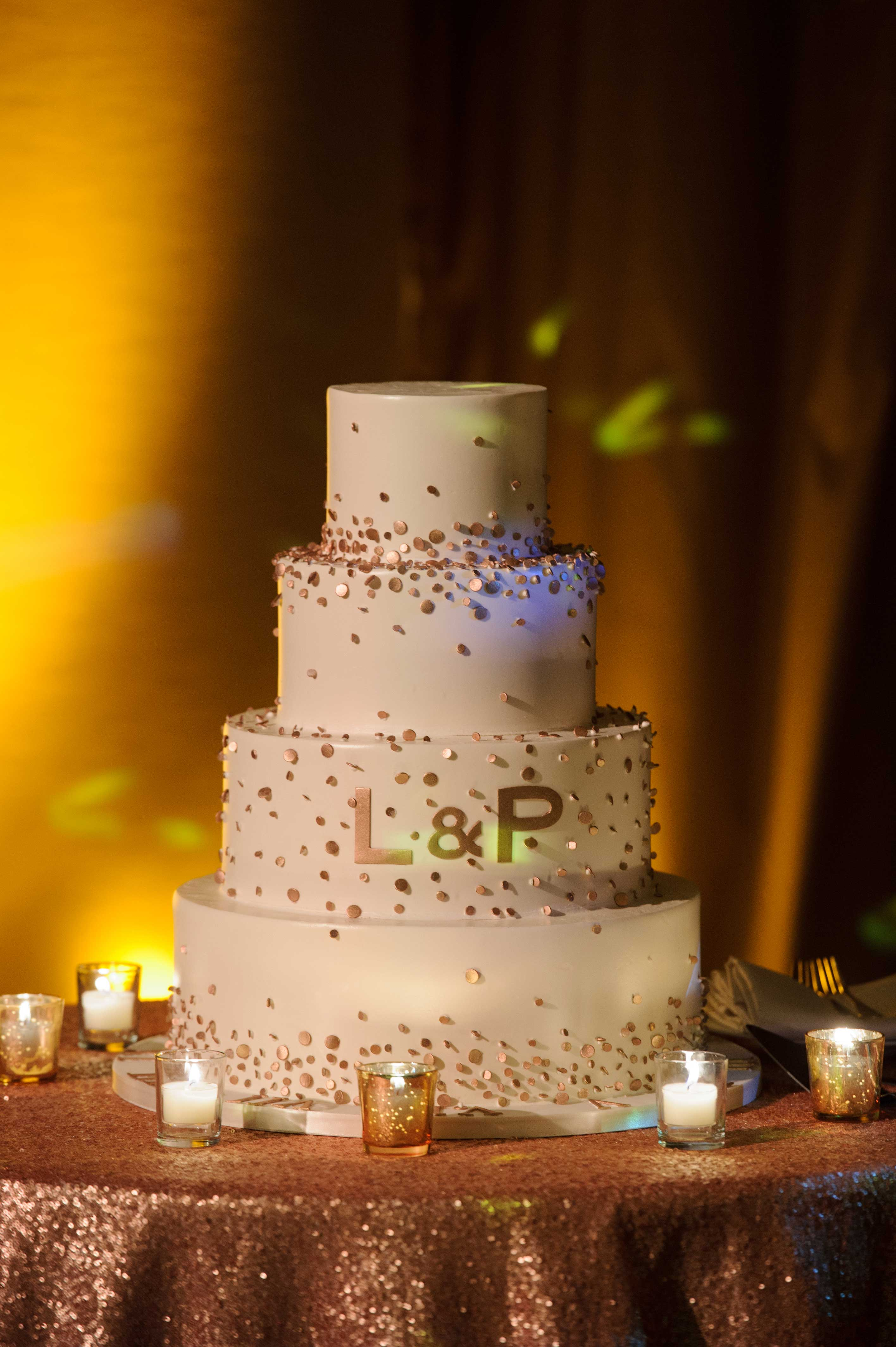 wedding cake with bride and groom's initials