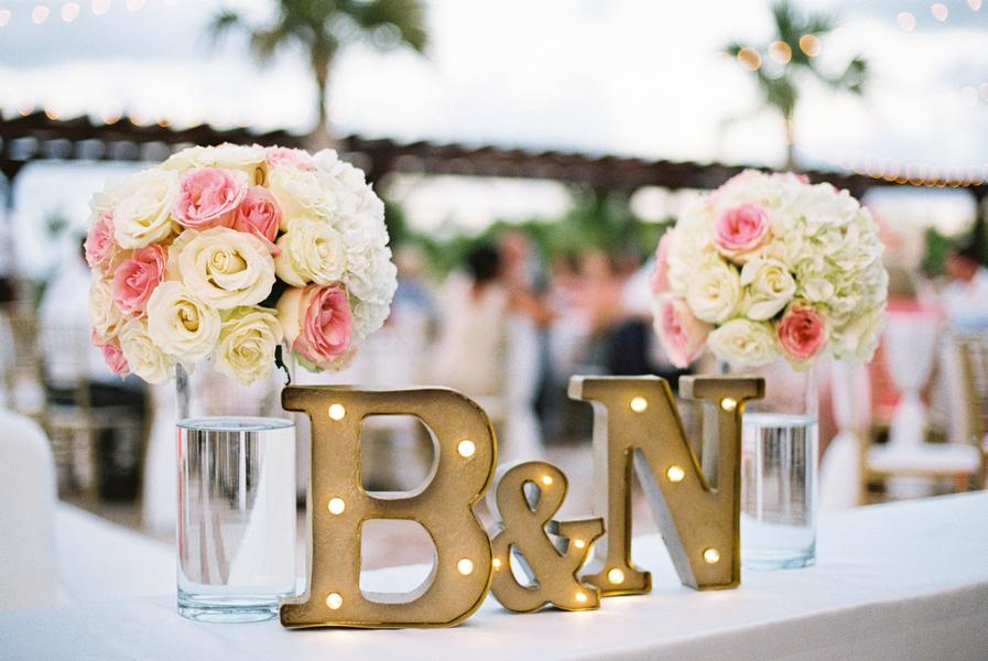 light-box of initials for wedding