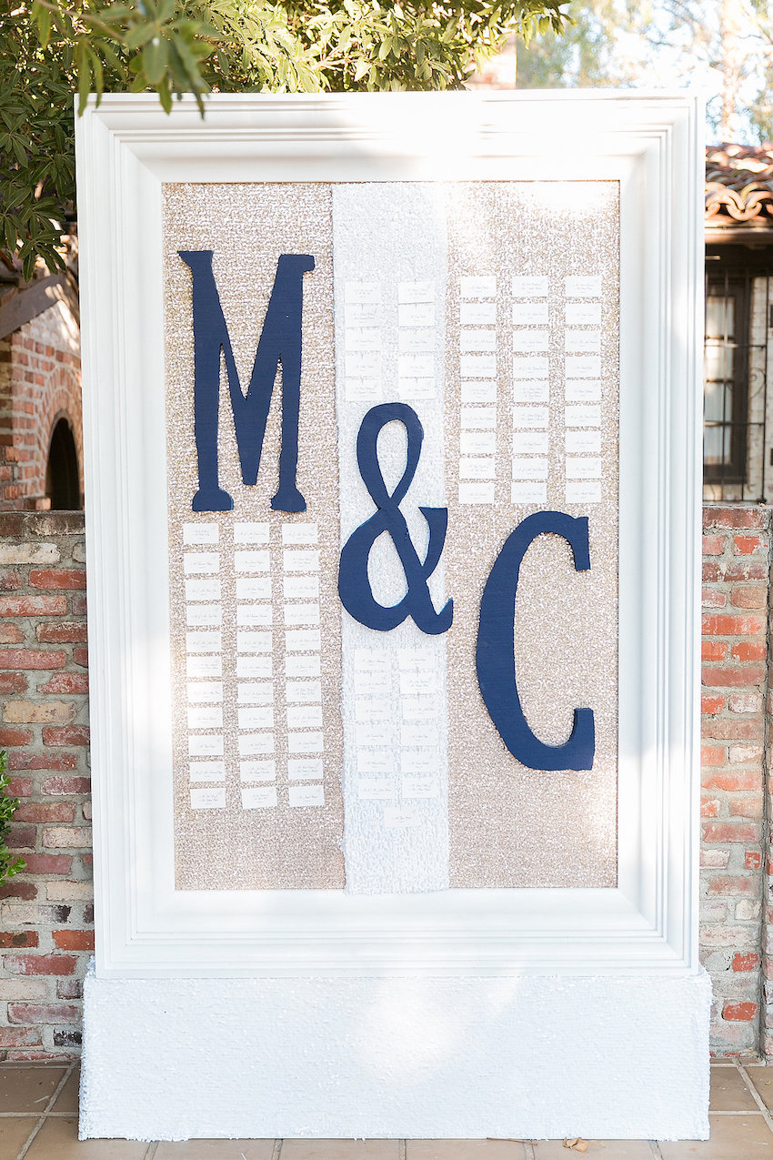initials on wedding seating chart