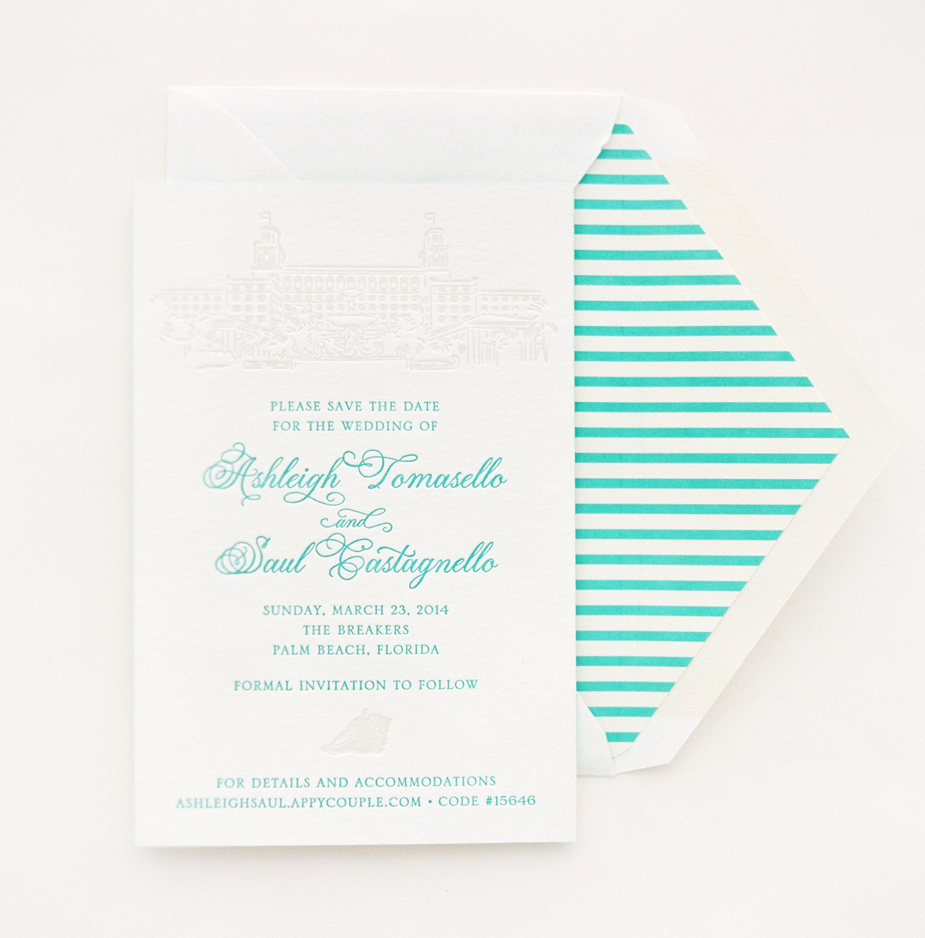 Blue and white stripe save the date for destination wedding