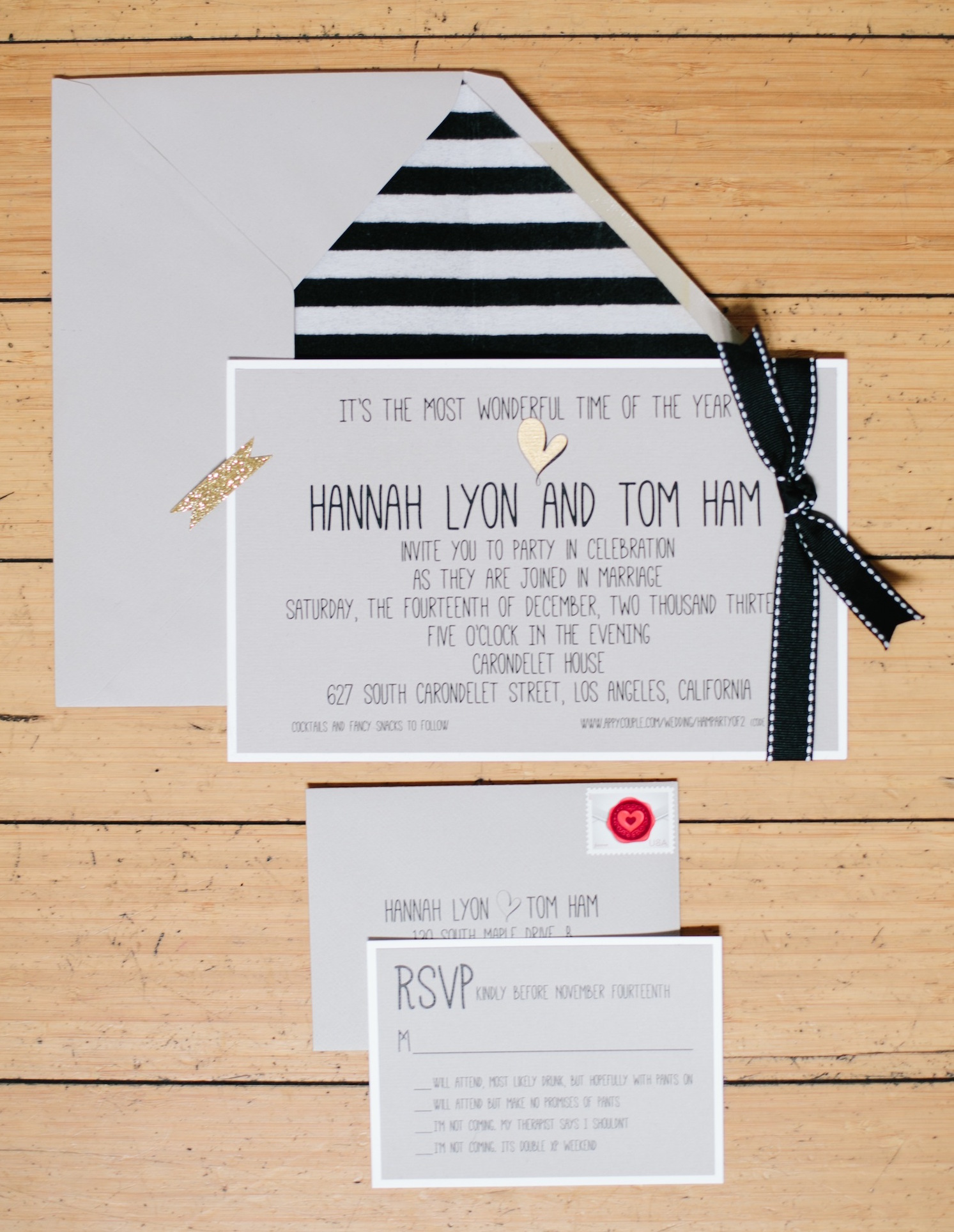 Black and white stripe envelope liner for wedding invite