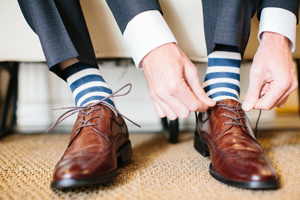 Blue and white striped socks for casual groom