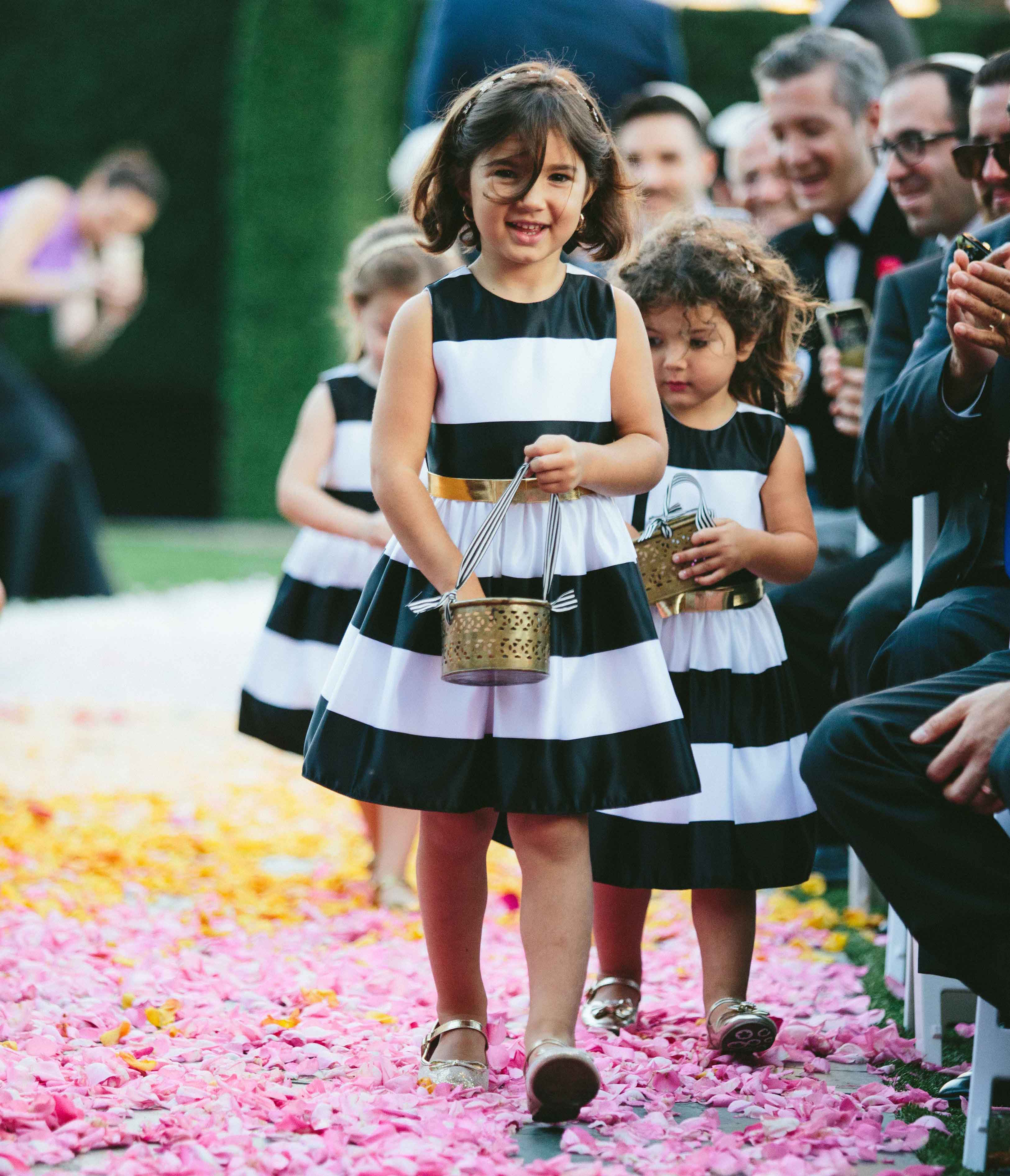 Short black and white stripe flower girl dress tank