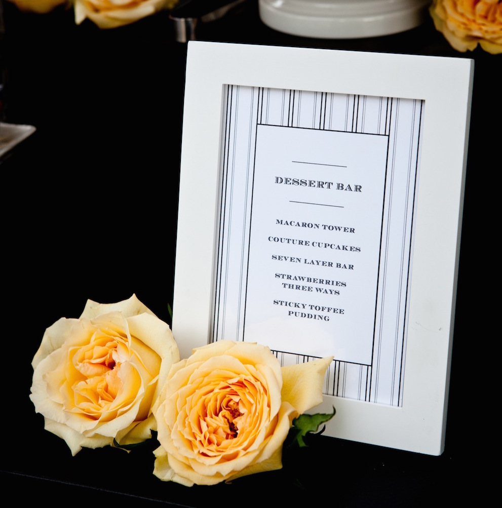 Striped wedding dessert menu in white frame