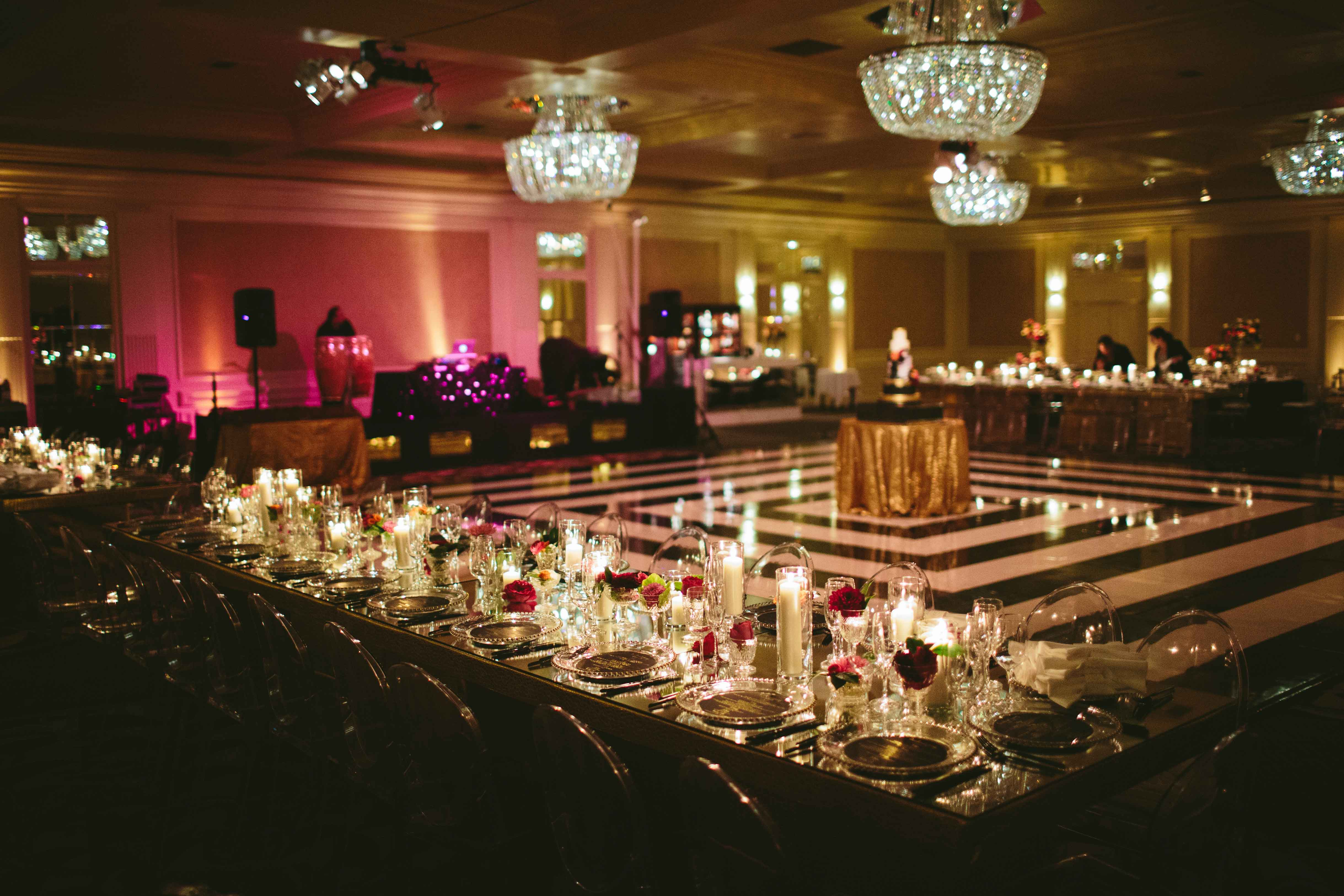 Black and white stripe dance floor ballroom modern wedding