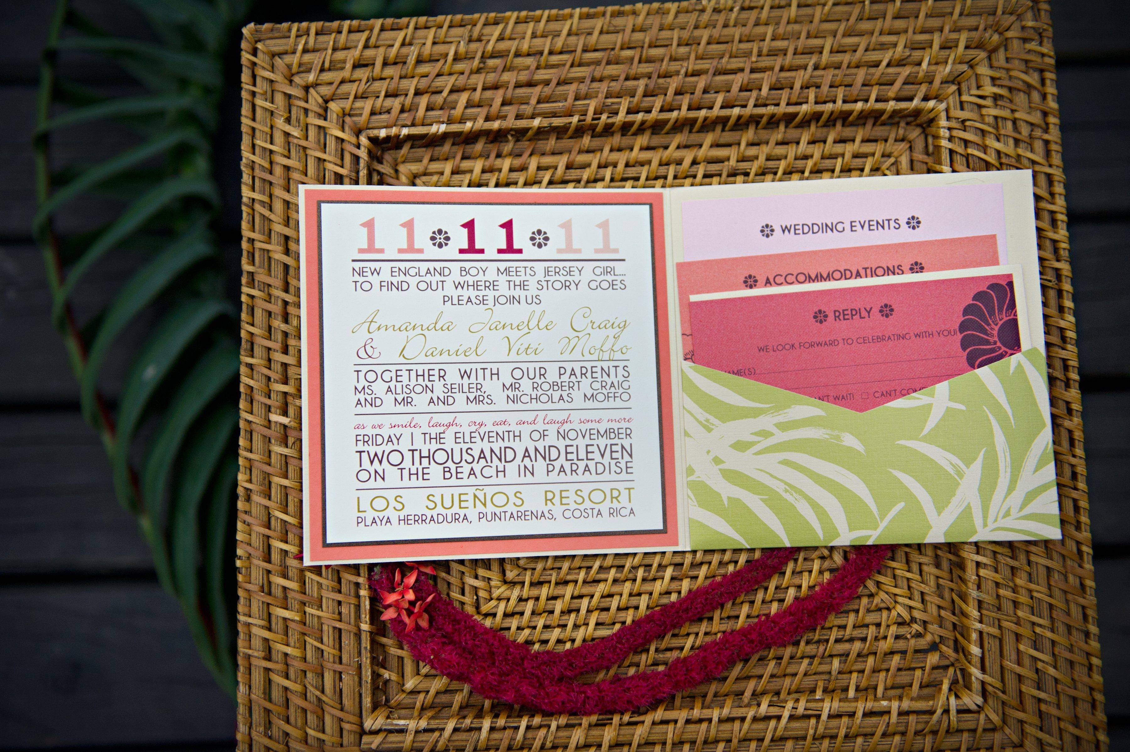 tropical invitation suite for destination wedding