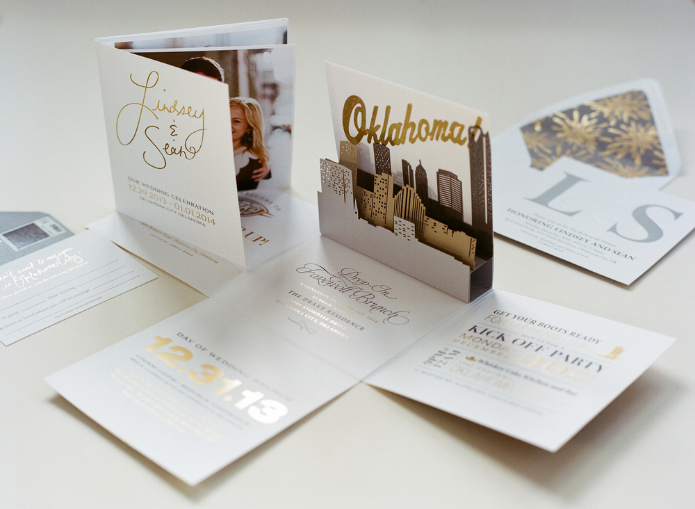 oklahoma city pop-up wedding invitation suite
